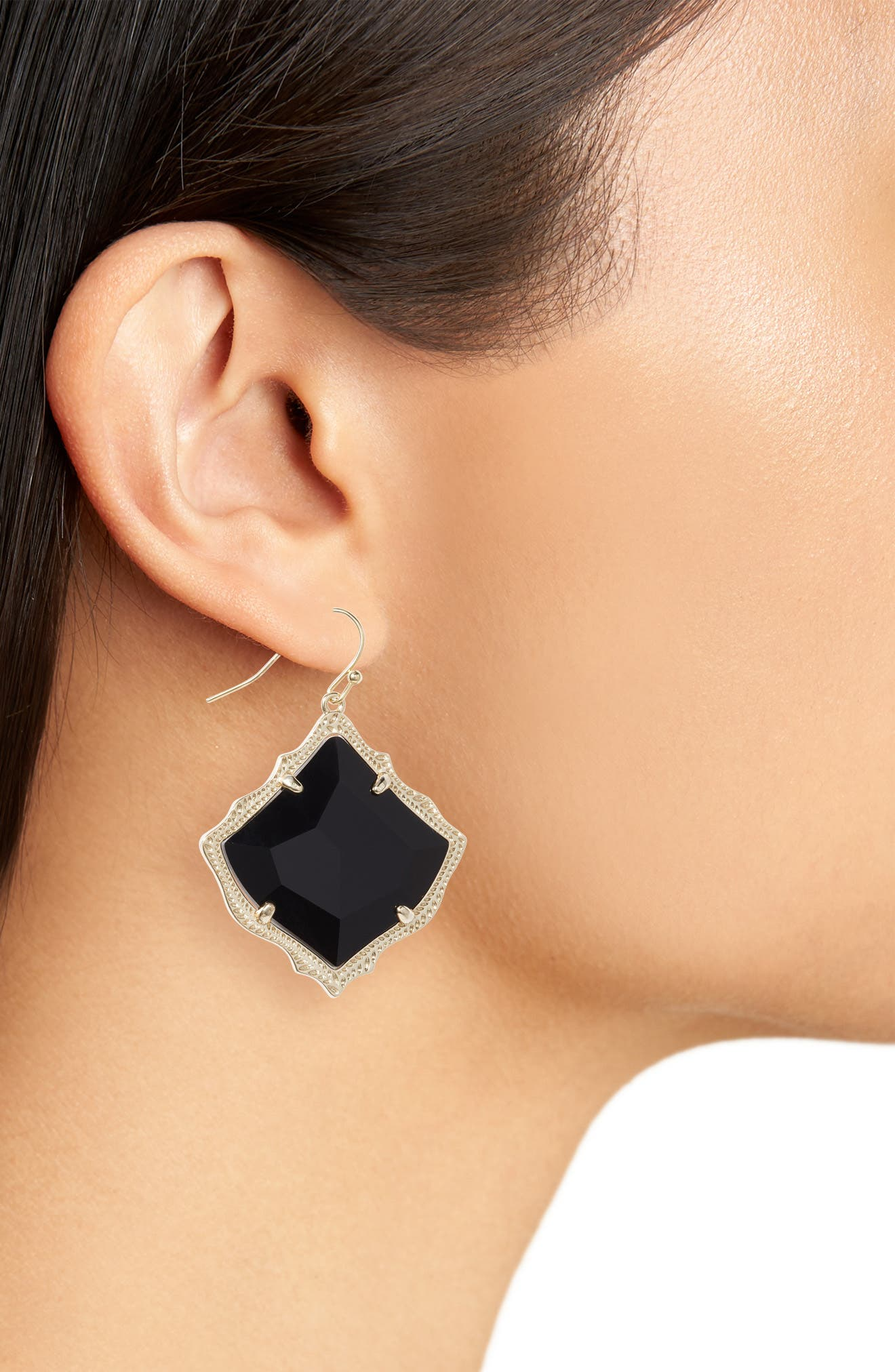 Kirsten Drop Earrings,                             Alternate thumbnail 2, color,                             BLACK OPAQUE GLASS/ GOLD