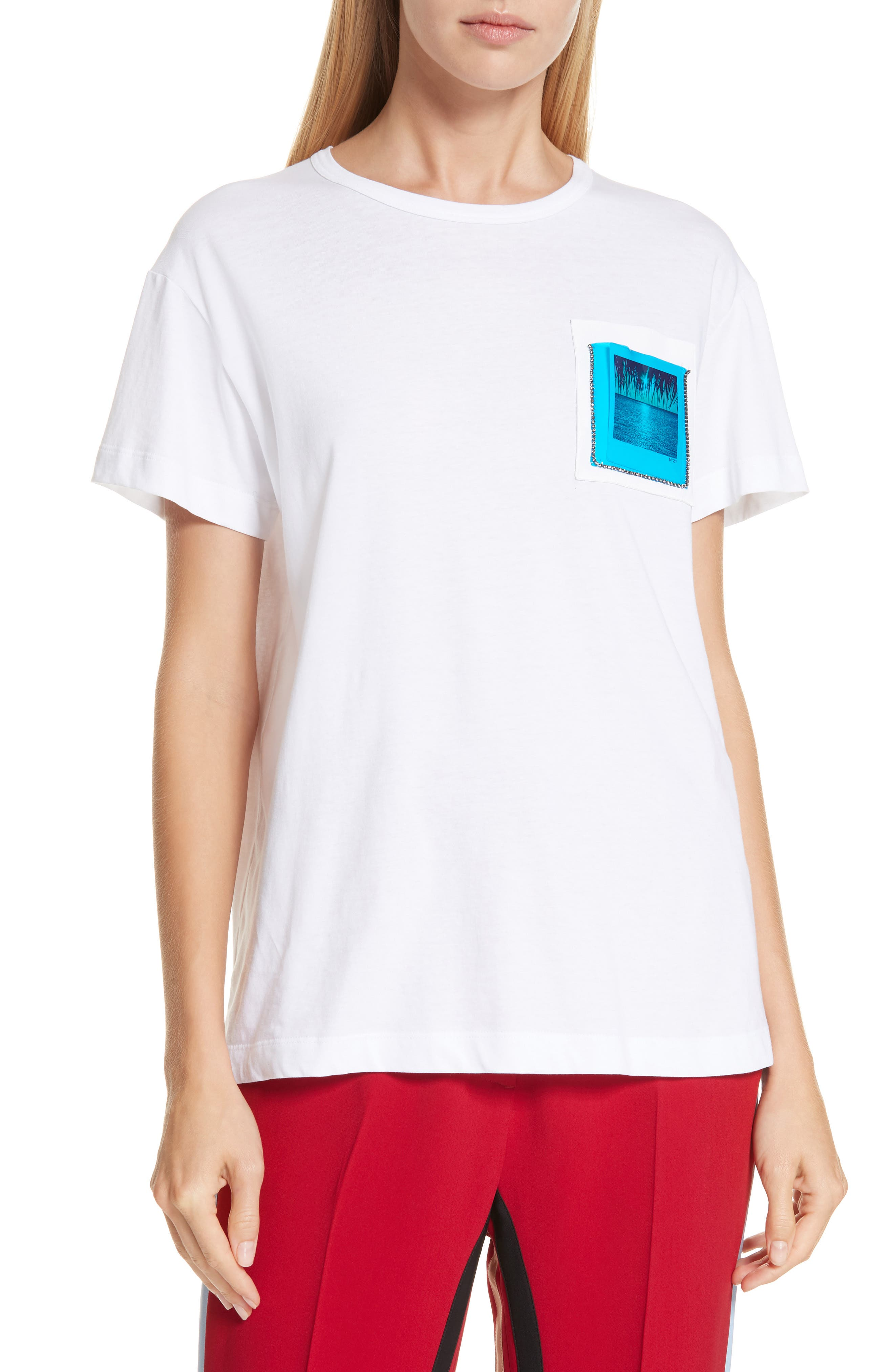 Nº21 Photograph Pocket Tee, Main, color, WHITE