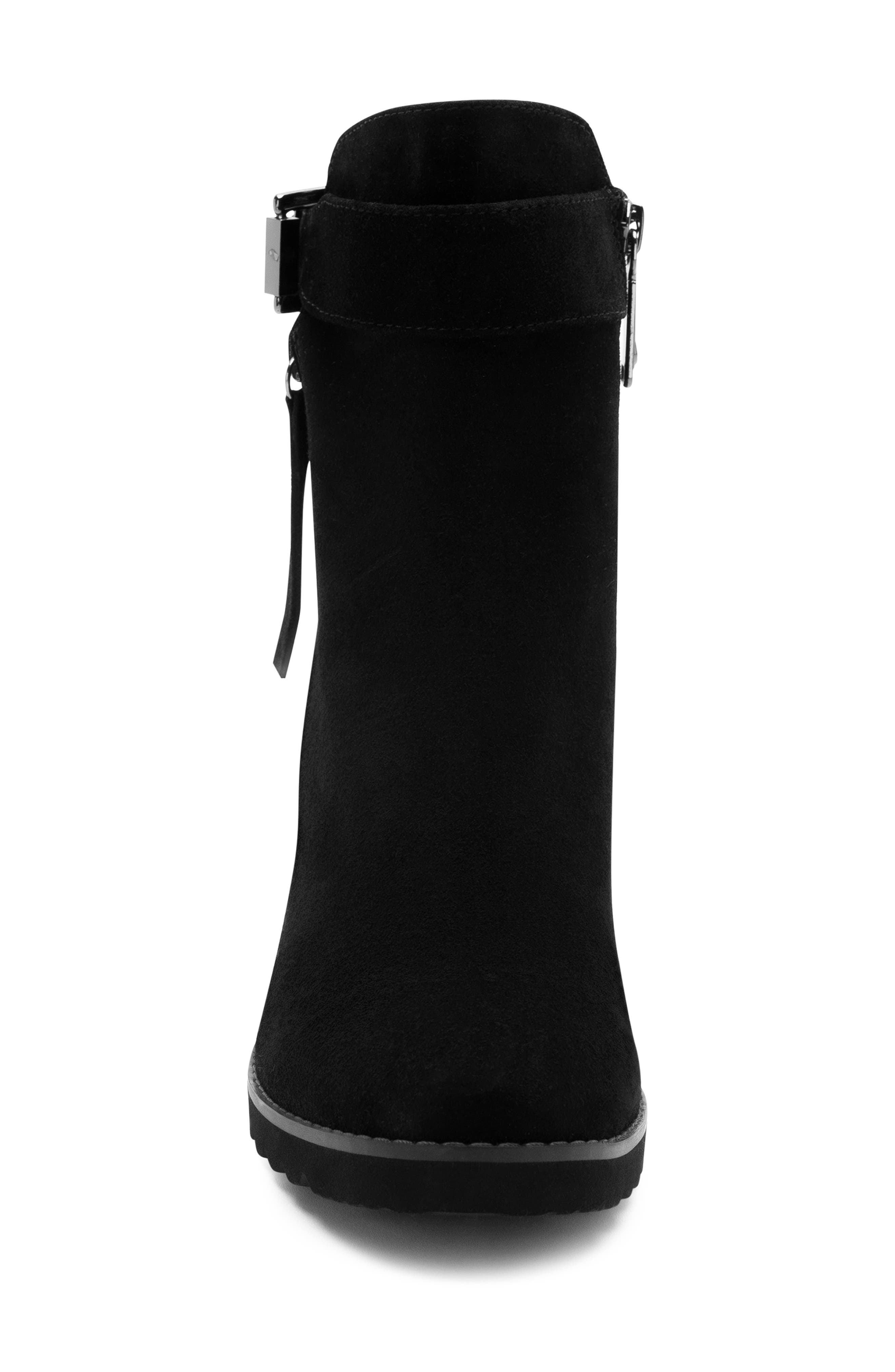 Anic Waterproof Ankle Boot,                             Alternate thumbnail 4, color,                             BLACK SUEDE