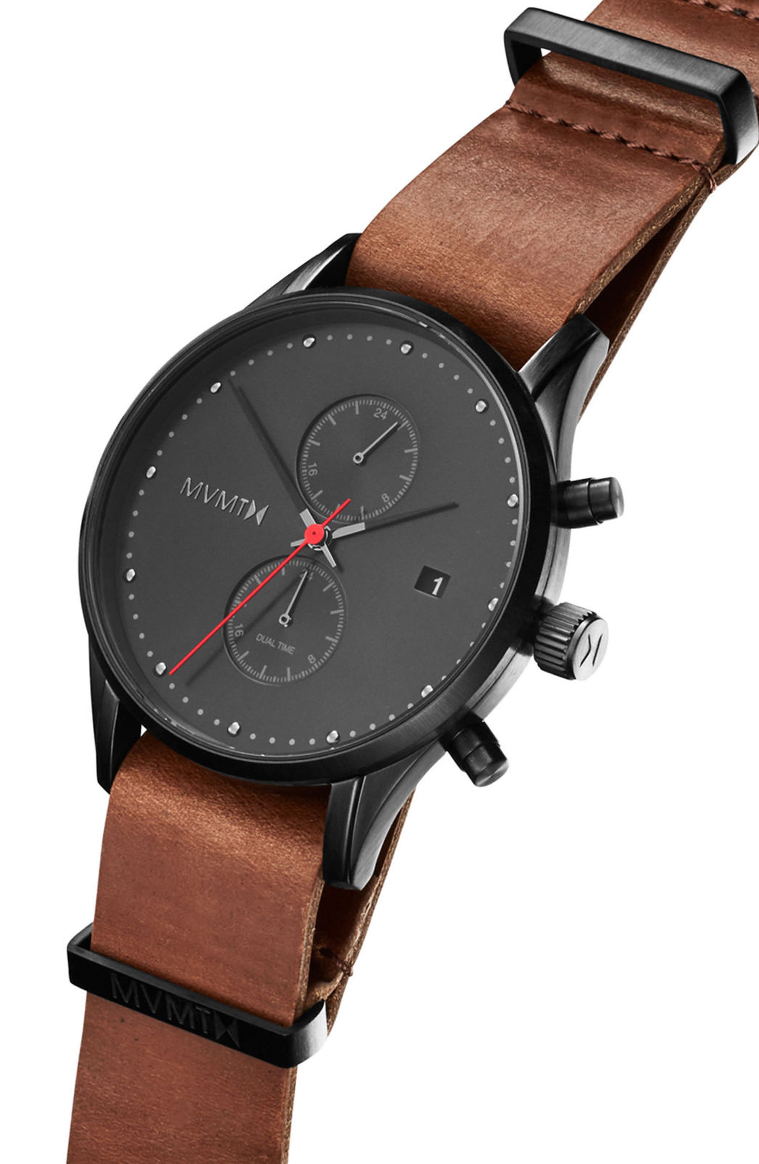 MVMT,                             Voyager Chronograph Leather Strap Watch, 42mm,                             Alternate thumbnail 3, color,                             200