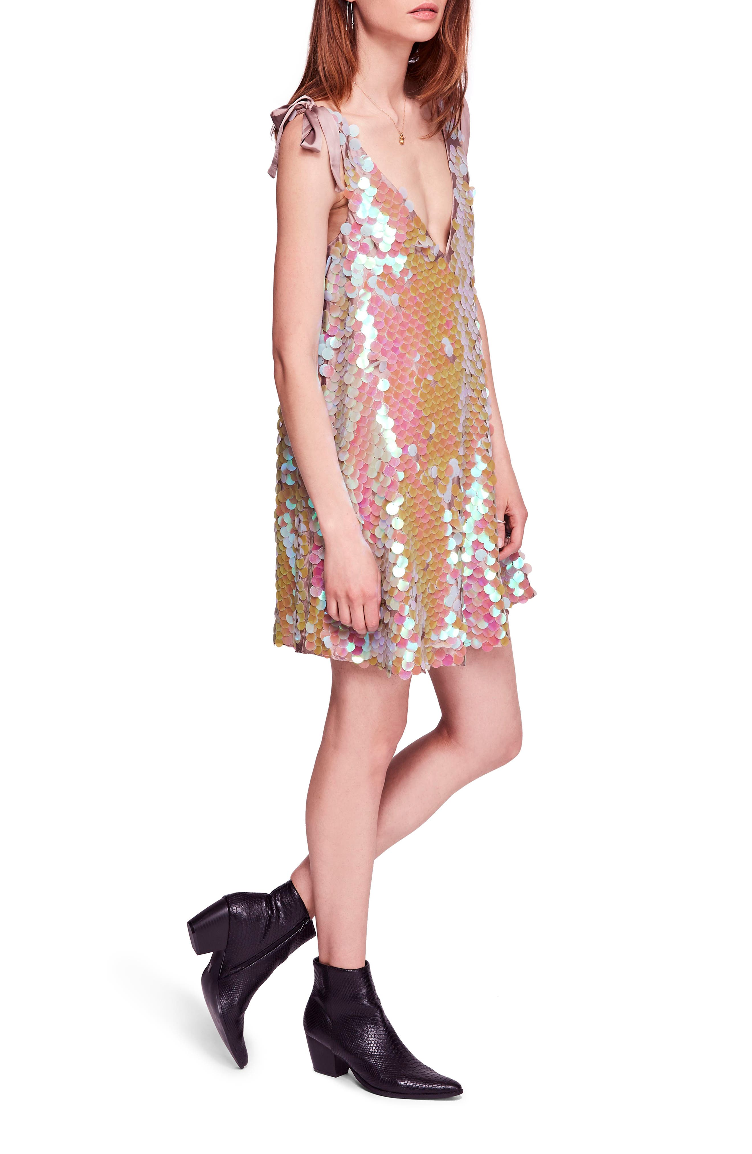 Penelope Glitter Disc Sequin Swing Dress,                             Alternate thumbnail 3, color,                             440