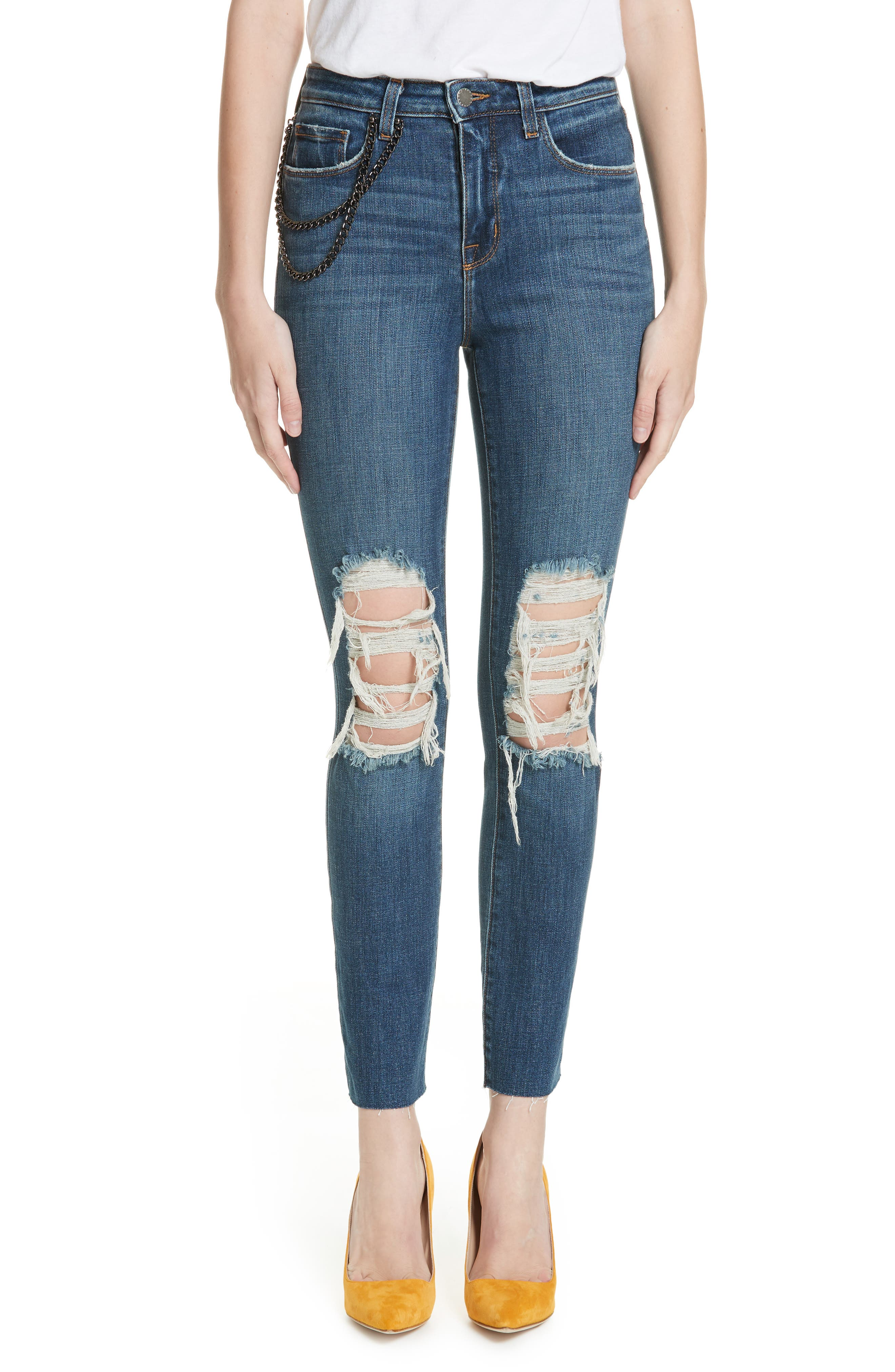 Luna Chain Detail Ripped Skinny Jeans,                             Main thumbnail 1, color,                             401