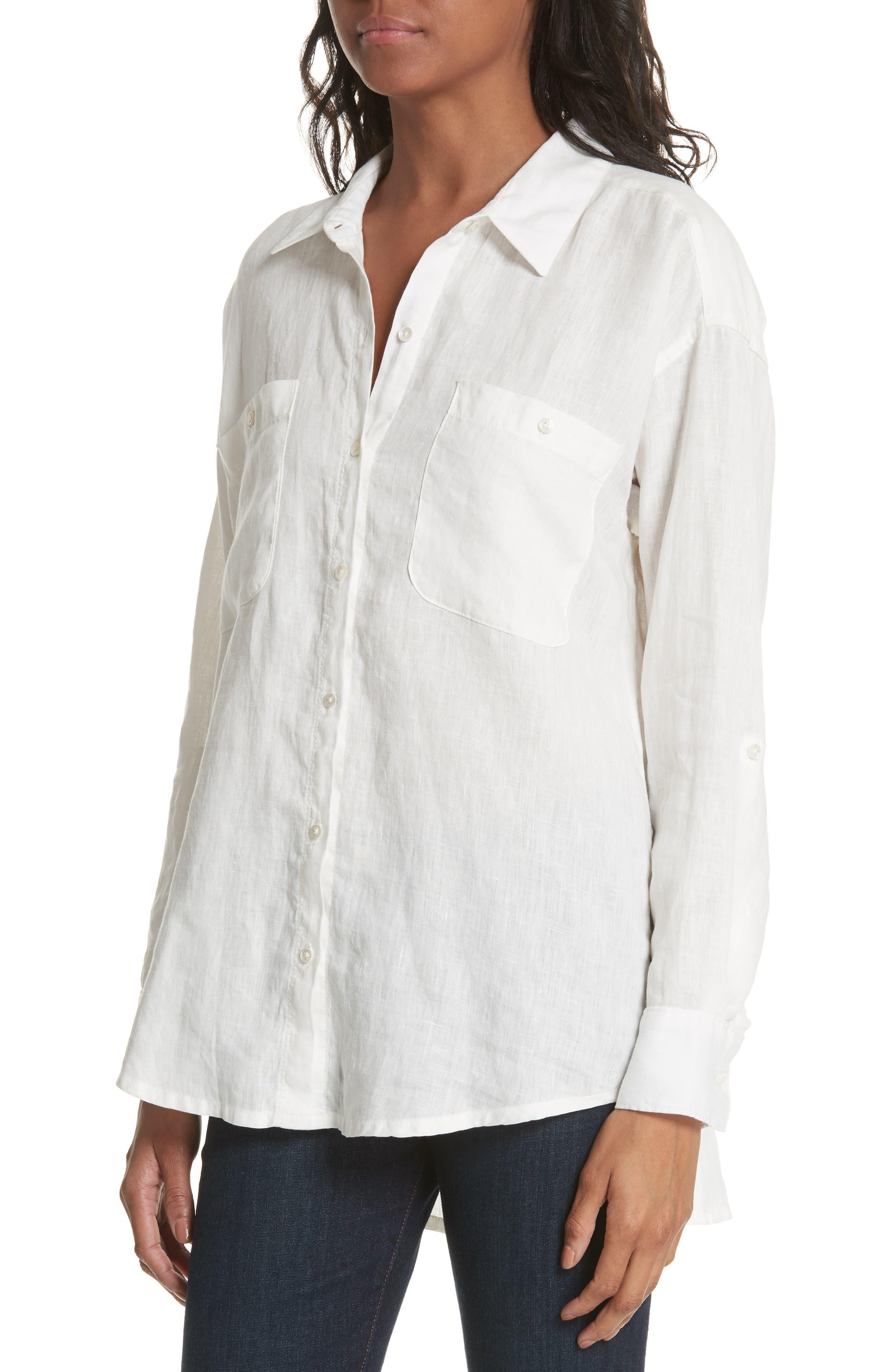 Lidelle Button Tab Linen Blouse,                             Alternate thumbnail 4, color,                             120