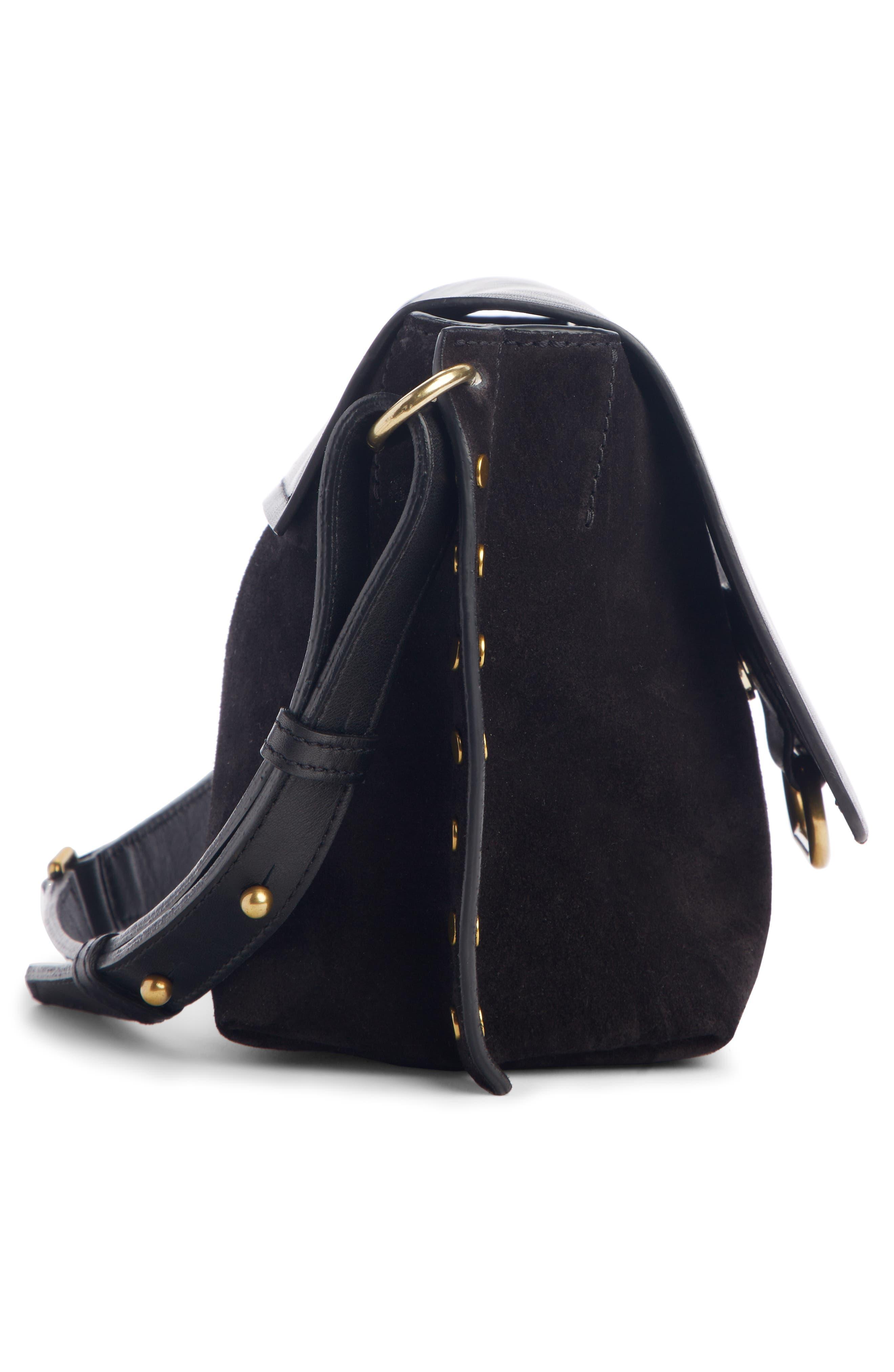 Kleny Leather Shoulder Bag,                             Alternate thumbnail 4, color,                             BLACK