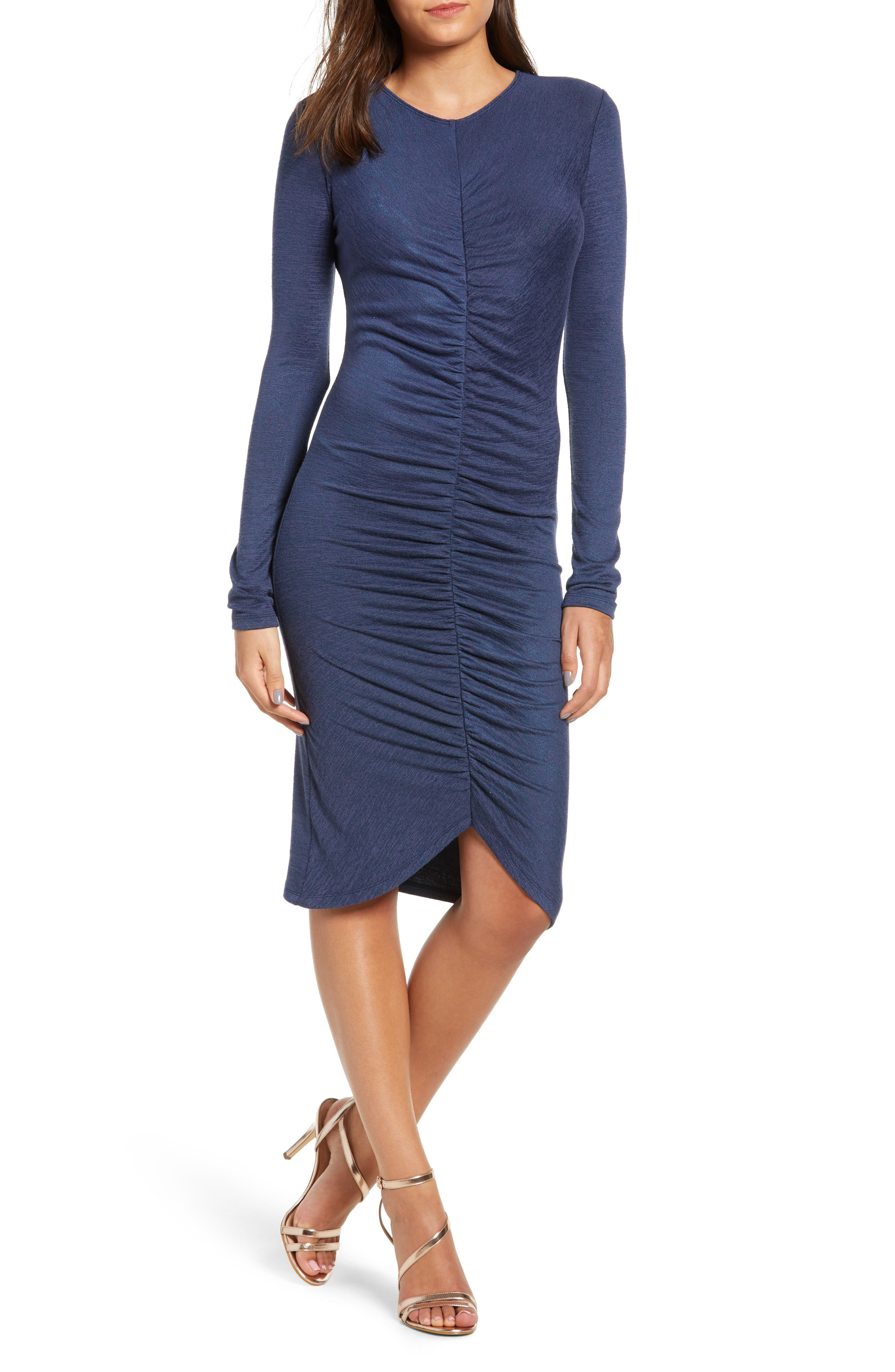 Leith Ruched Front Dress, Blue