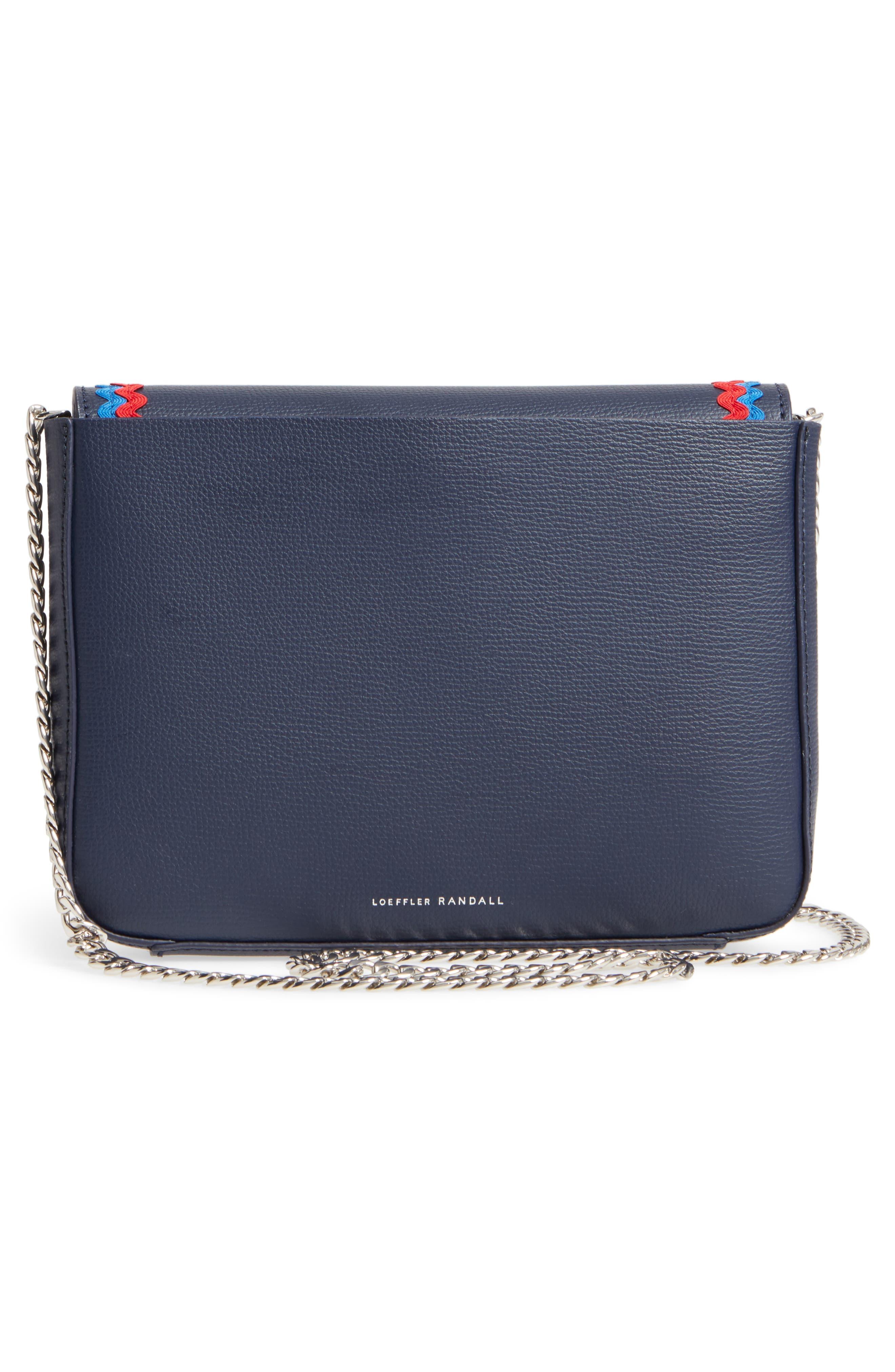 Lock Leather Flap Clutch/Shoulder Bag,                             Alternate thumbnail 3, color,