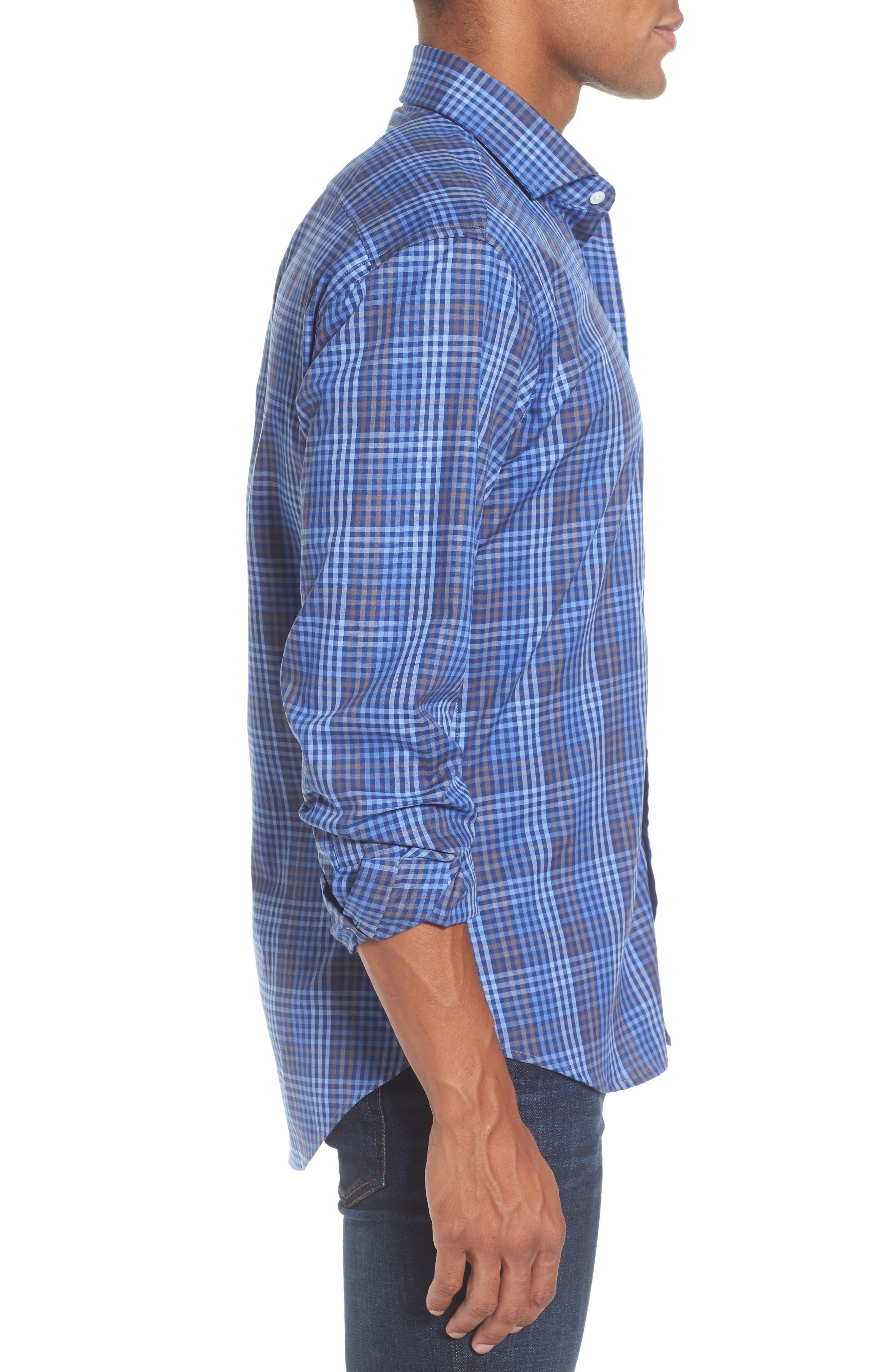 Alden Slim Fit Check Sport Shirt,                             Alternate thumbnail 3, color,                             400
