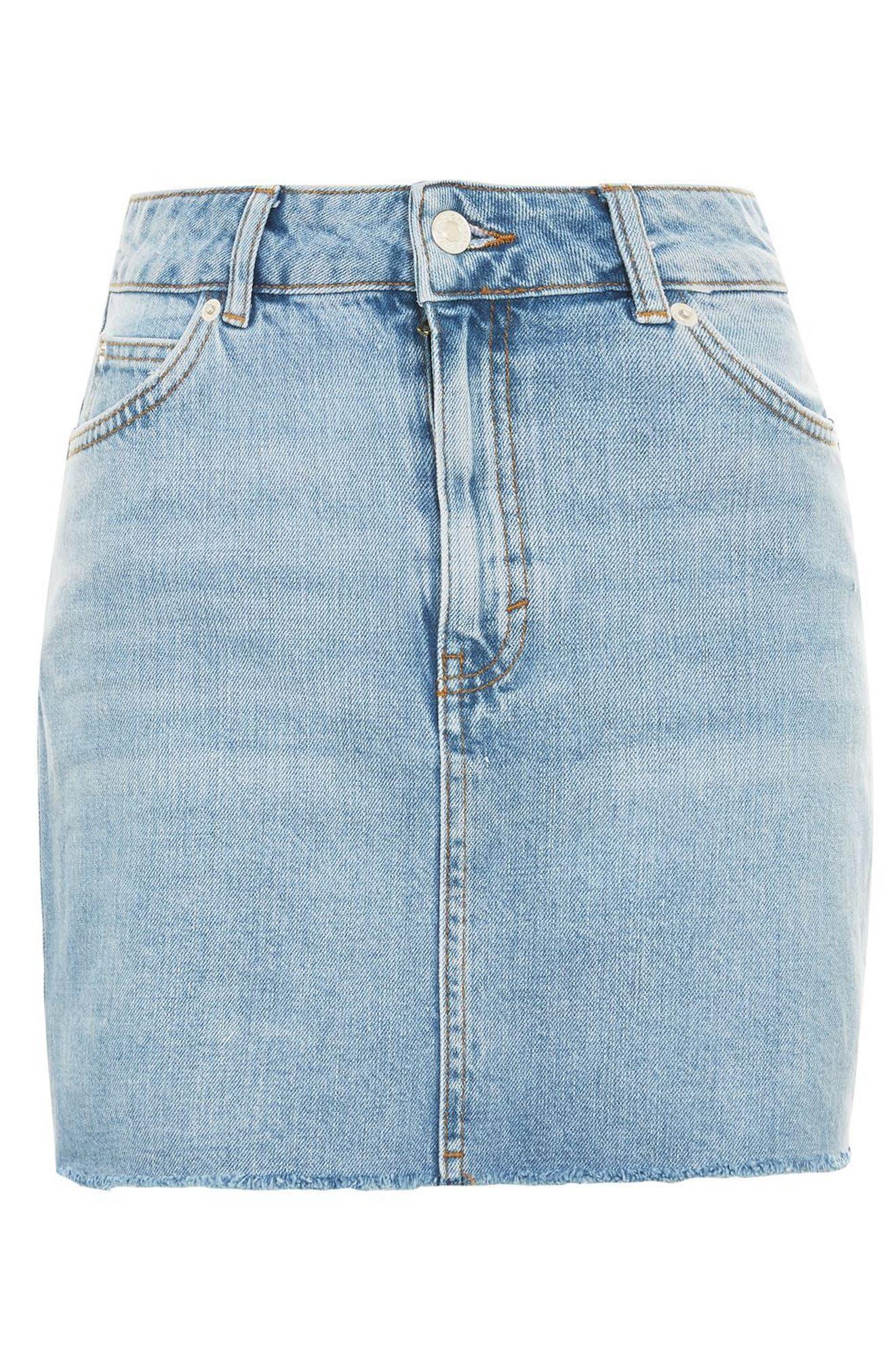 Frayed Hem Denim Miniskirt,                             Alternate thumbnail 9, color,
