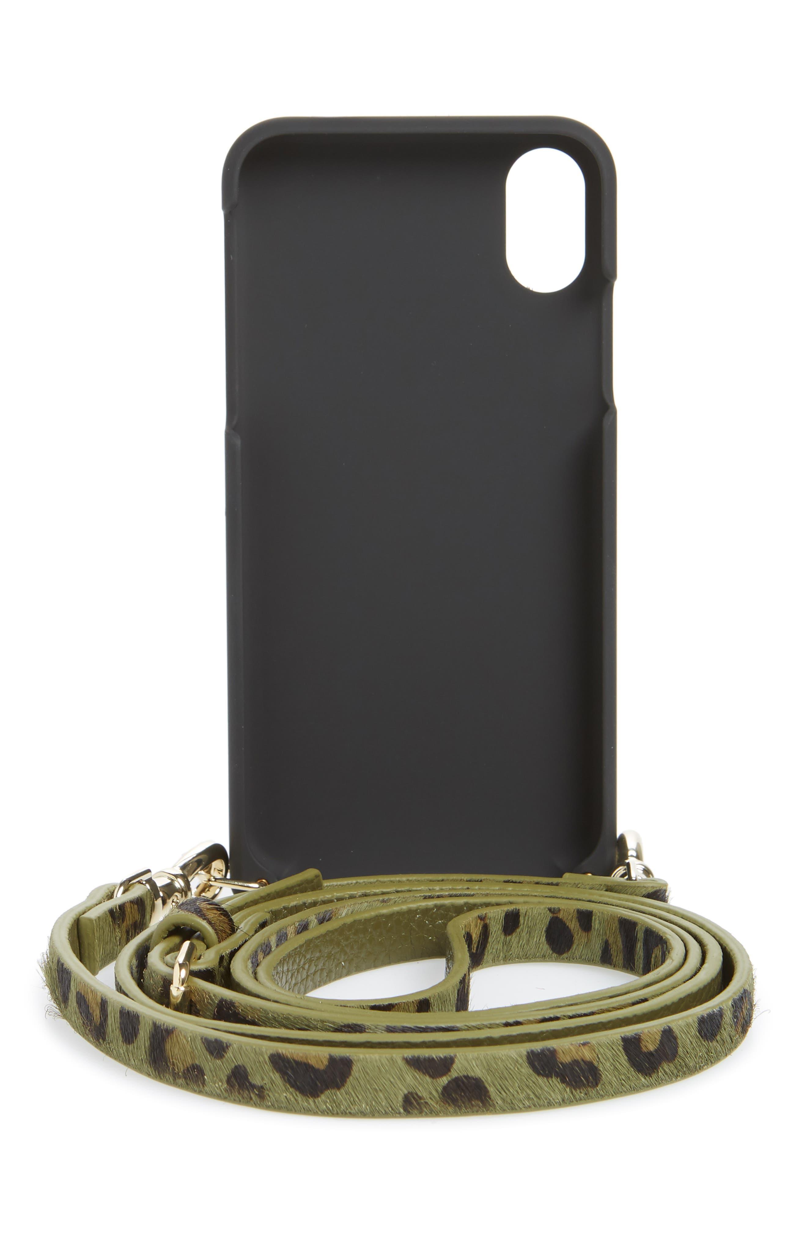 BANDOLIER,                             Emma Genuine Calf Hair iPhone X/Xs/Xs Max & XR Crossbody Case,                             Alternate thumbnail 3, color,                             GREEN/ GOLD