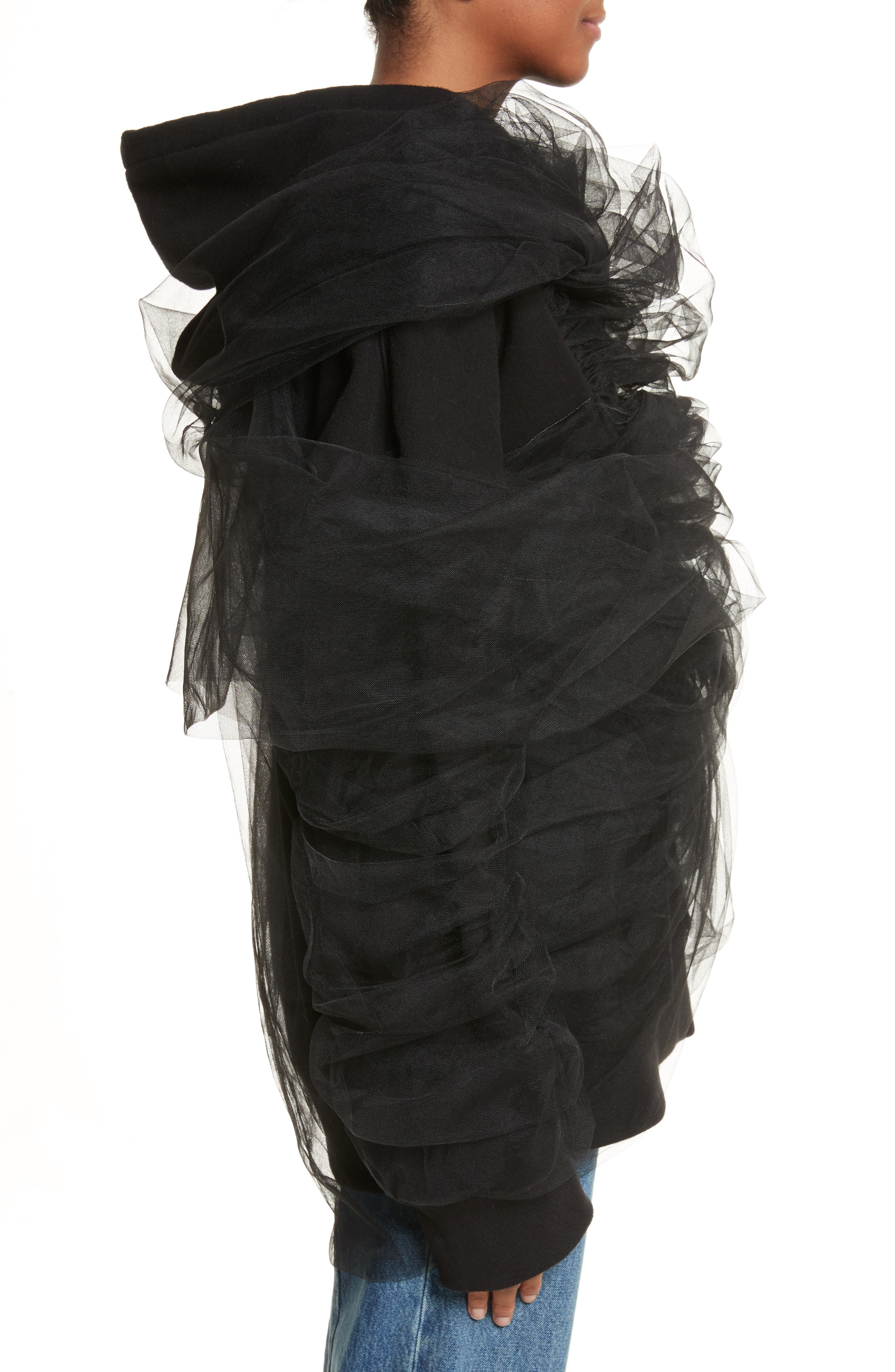 Tulle Wrapped Hoodie,                             Alternate thumbnail 3, color,                             001