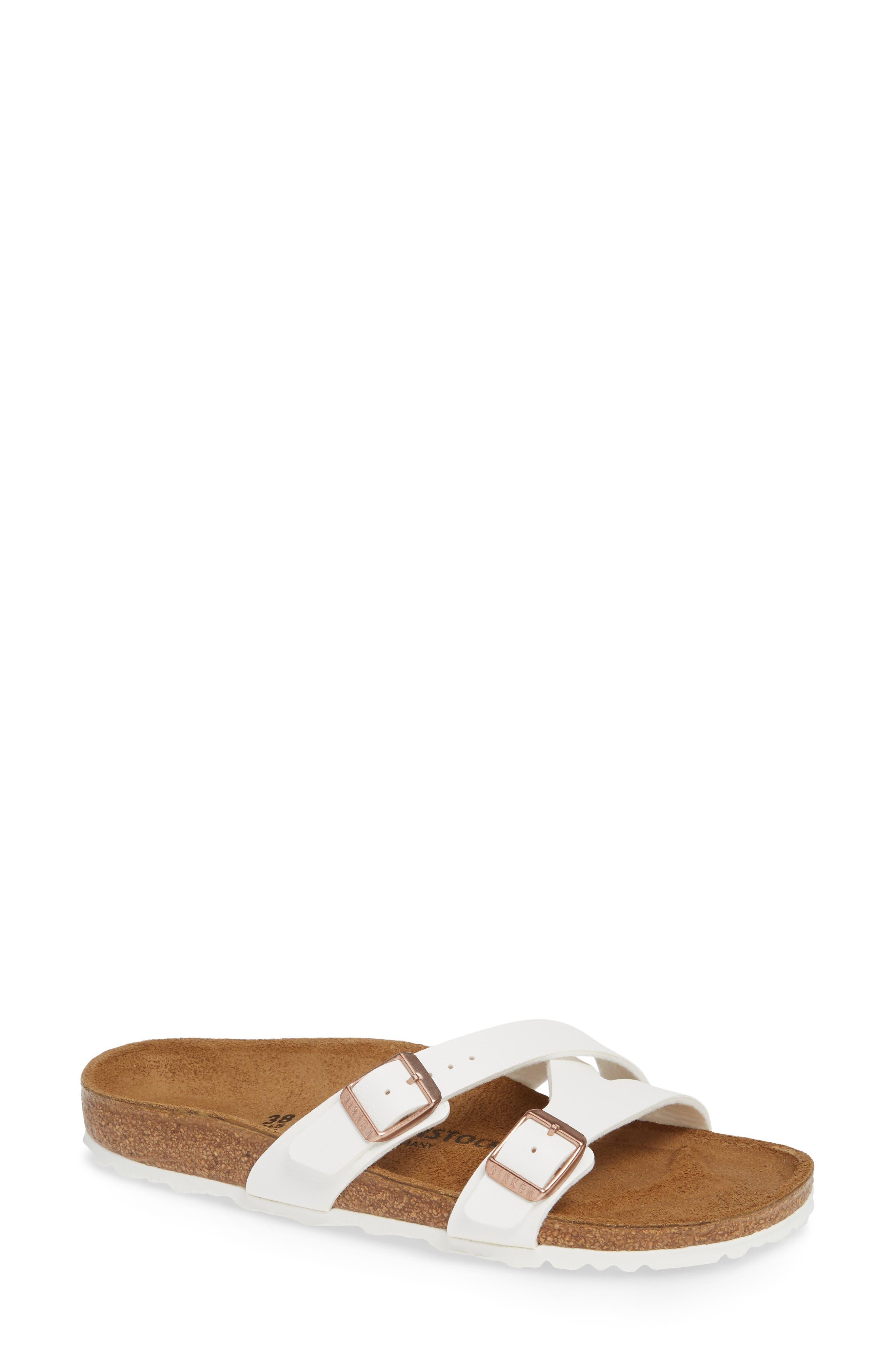 BIRKENSTOCK,                             Yao Slide Sandal,                             Main thumbnail 1, color,                             WHITE