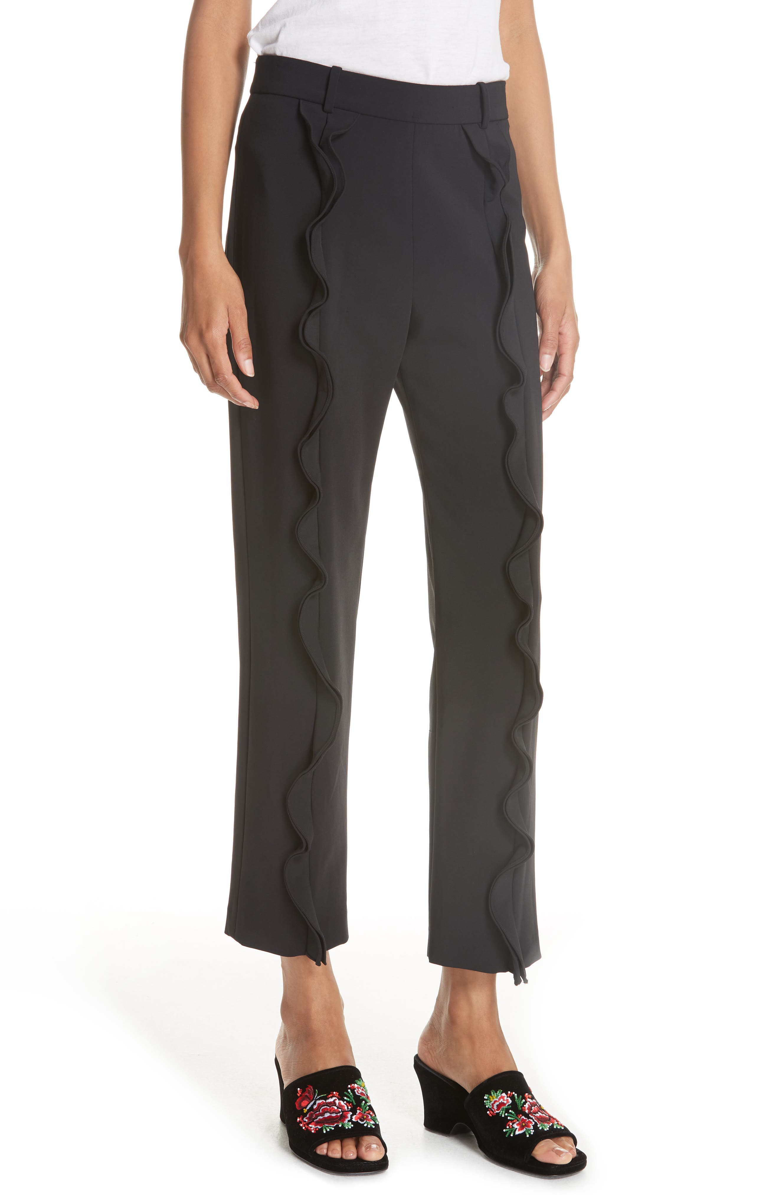 William Stretch Ruffle Pants in Black
