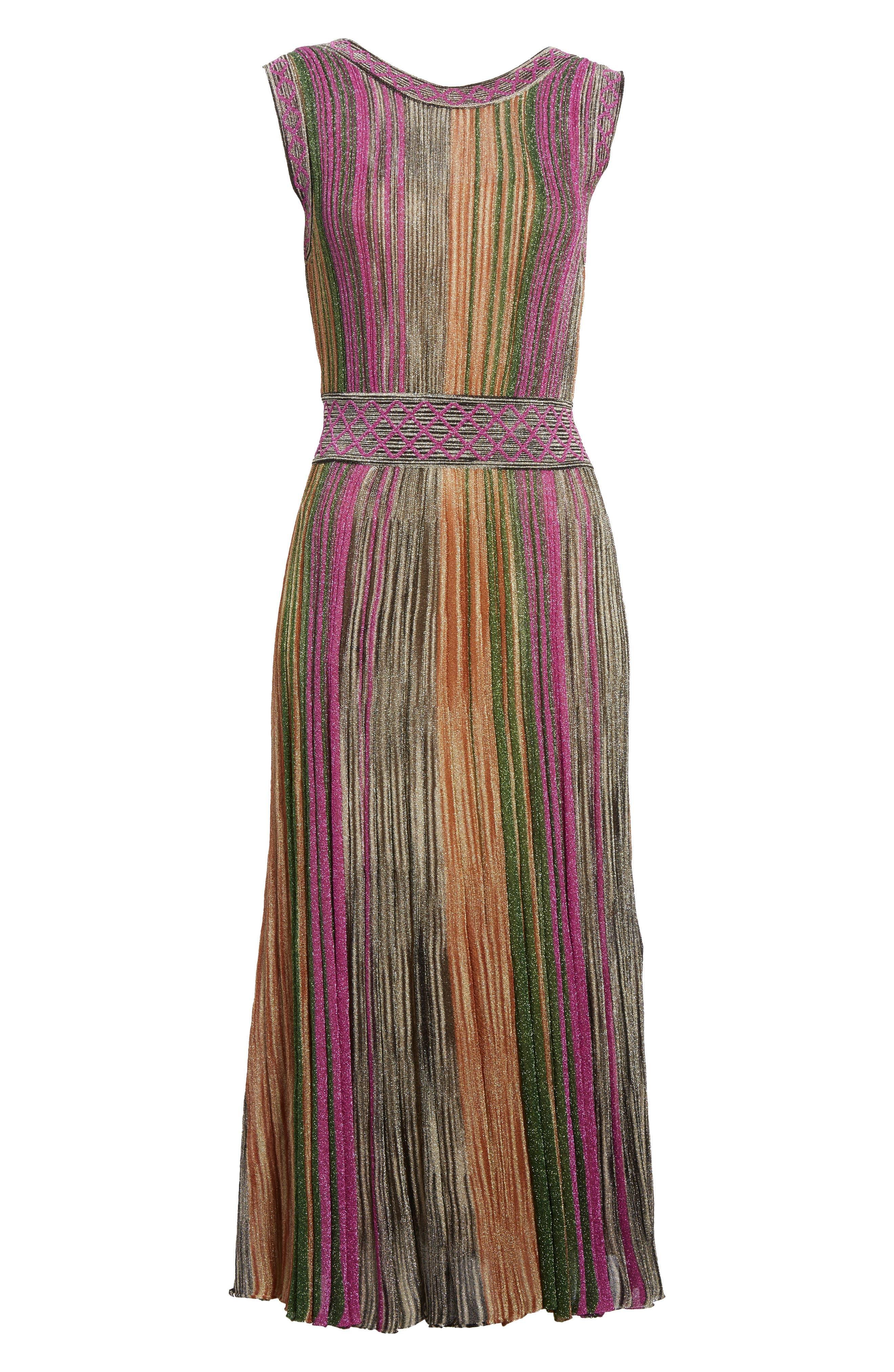 Reversible Metallic Stripe Knit Midi Dress,                             Alternate thumbnail 7, color,                             010