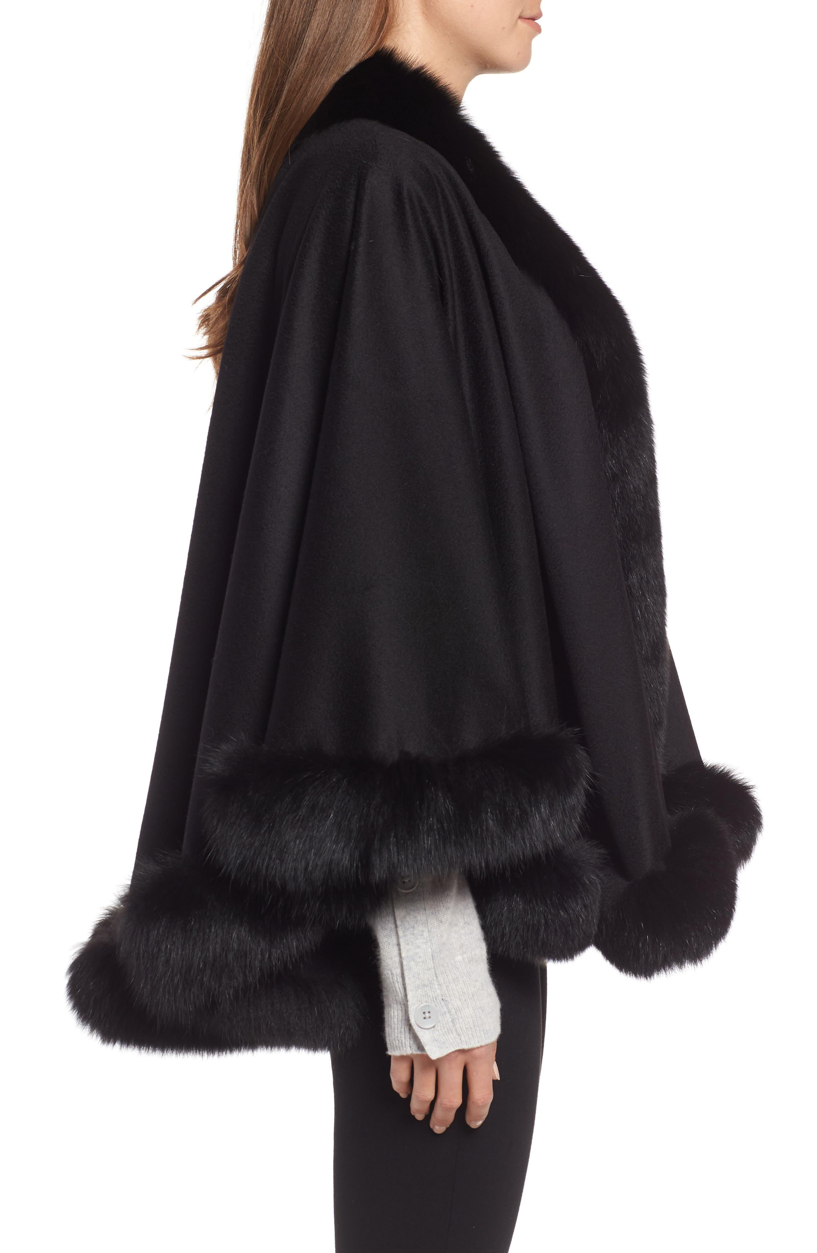 Petite Genuine Fox Fur Trim Cashmere Cape,                             Alternate thumbnail 3, color,                             BLACK