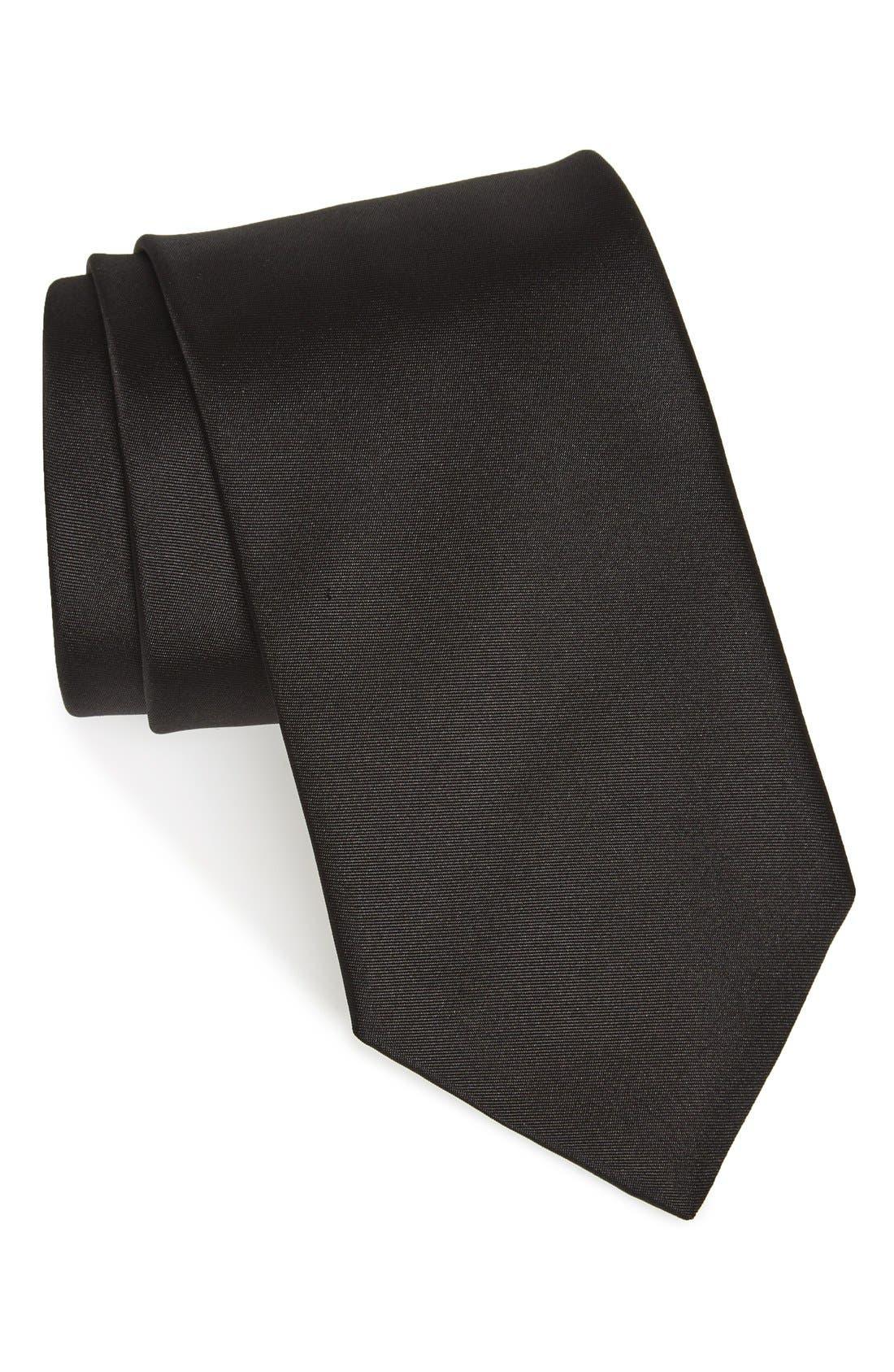 Solid Silk Skinny Tie,                             Alternate thumbnail 3, color,                             001