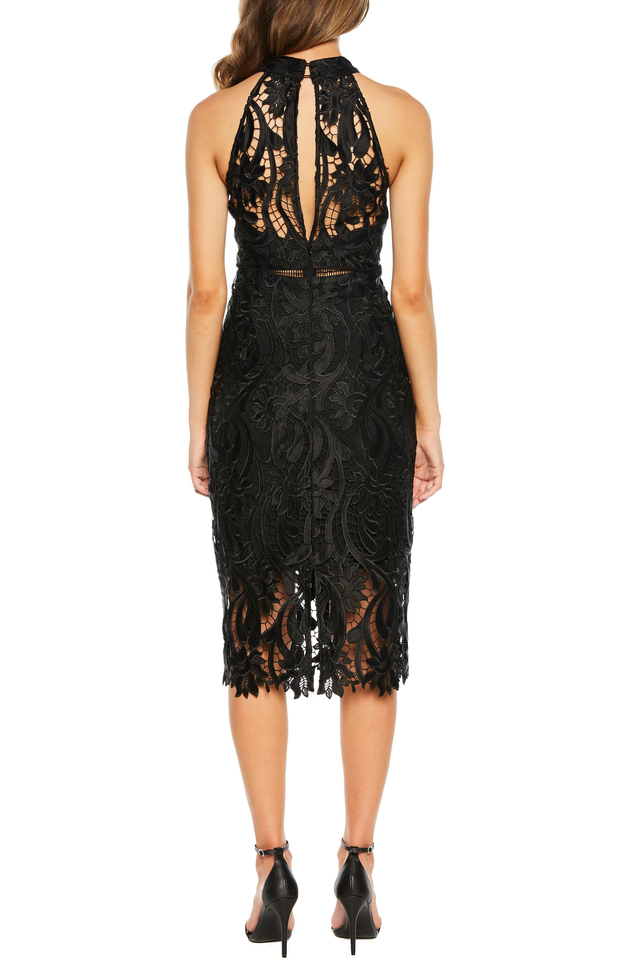 Isa Lace Halter Dress,                             Alternate thumbnail 2, color,                             BLACK