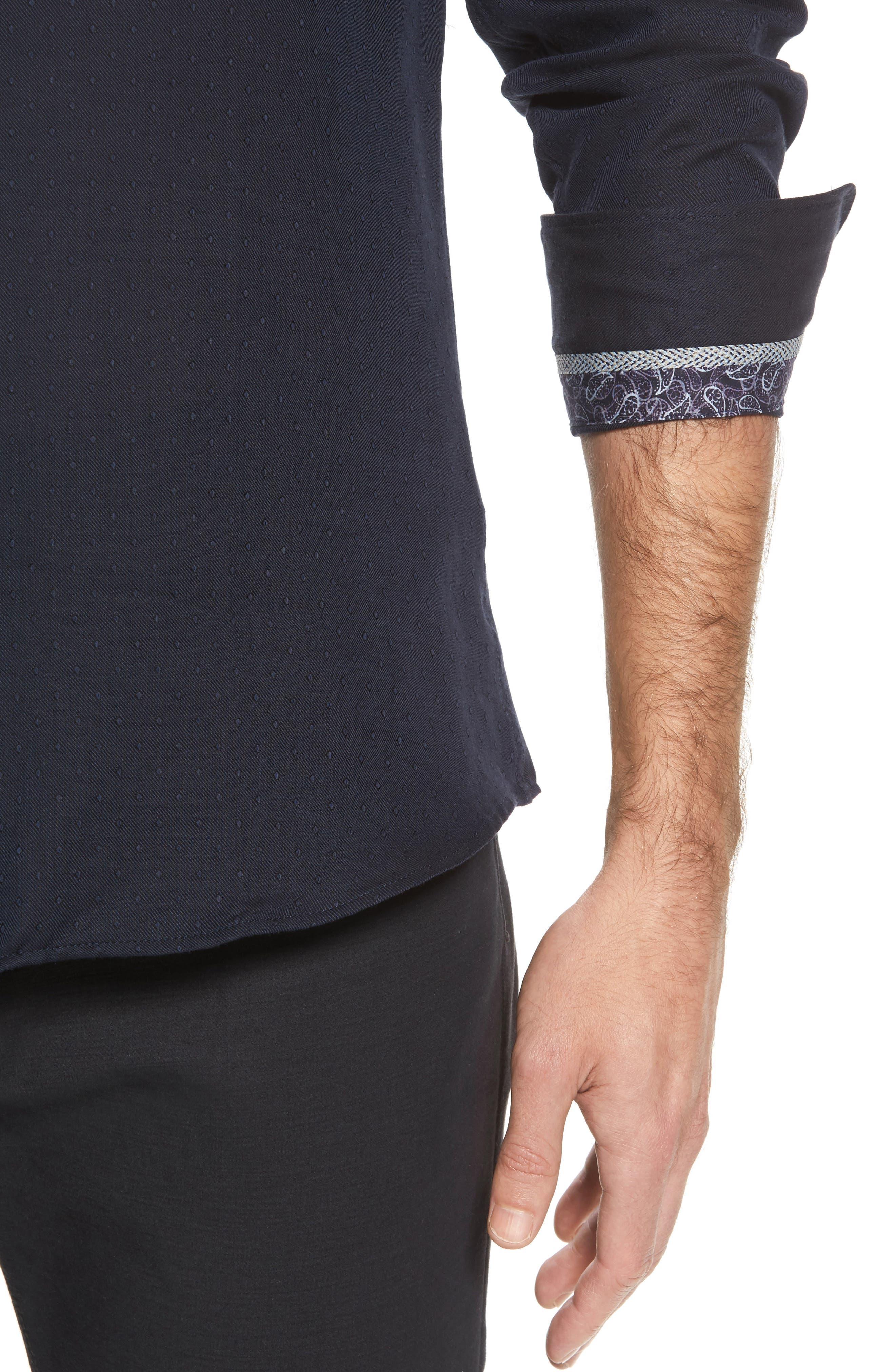 Slim Fit Diamond Twill Sport Shirt,                             Alternate thumbnail 4, color,                             NAVY