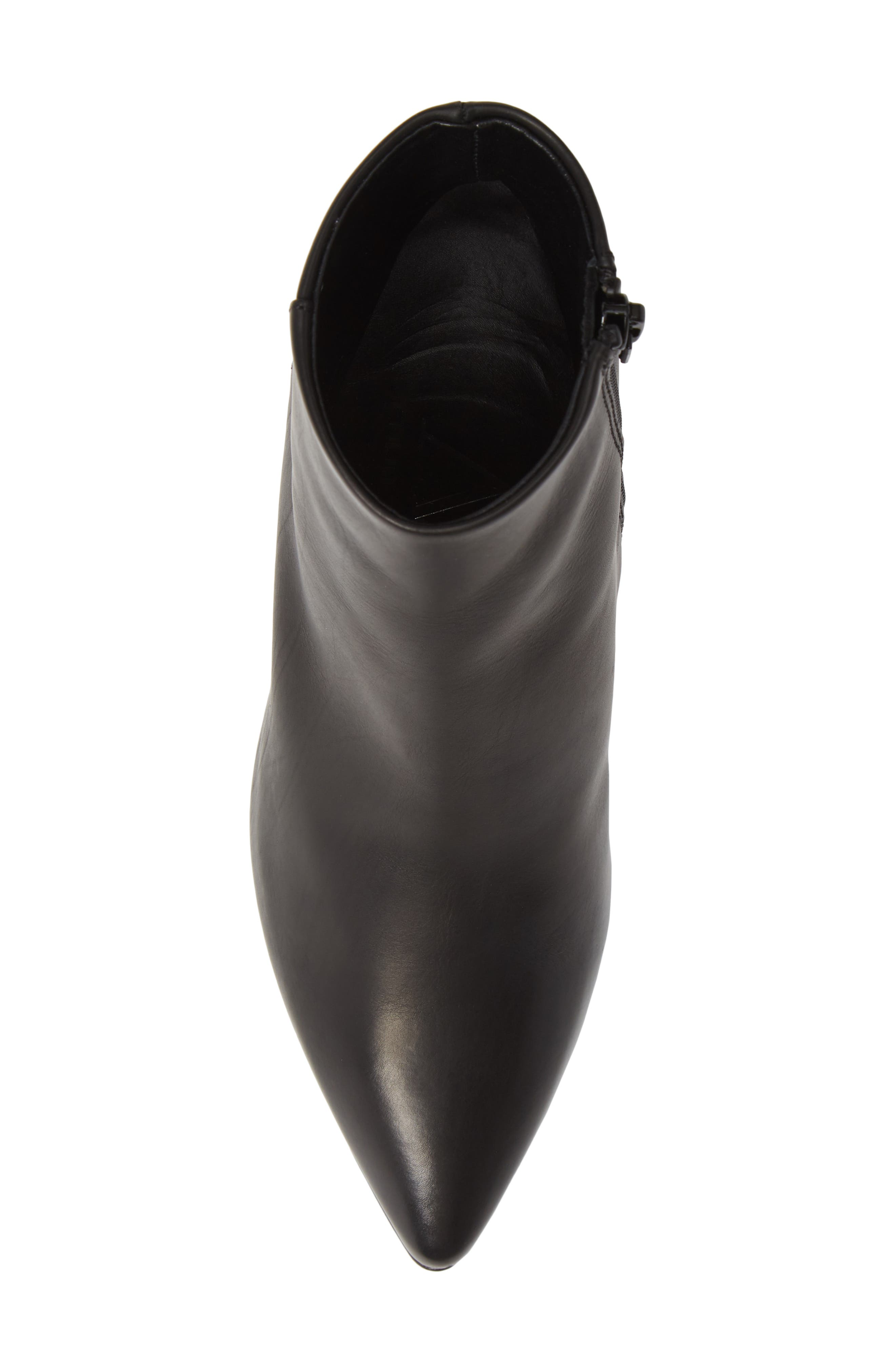 Pointy Toe Bootie,                             Alternate thumbnail 5, color,                             BLACK LEATHER