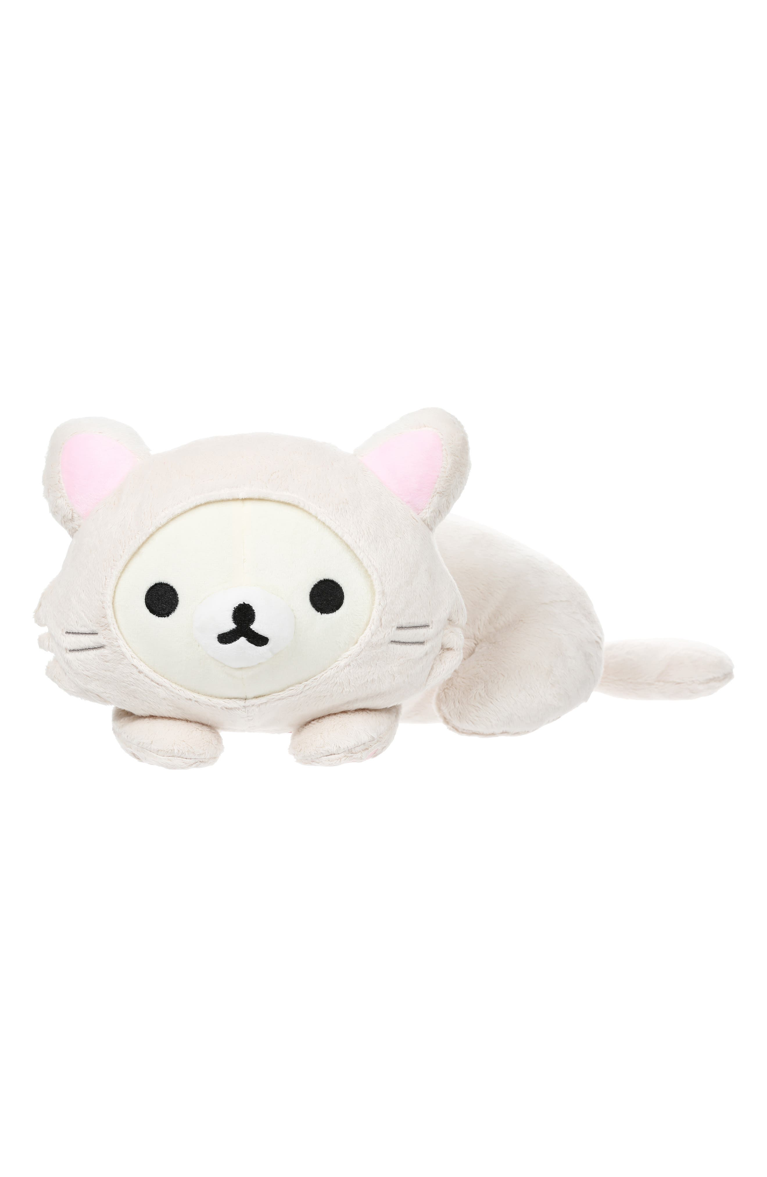 Rilakkuma Korilakkuma Laydown Cat Stuffed Animal,                             Main thumbnail 1, color,                             WHITE