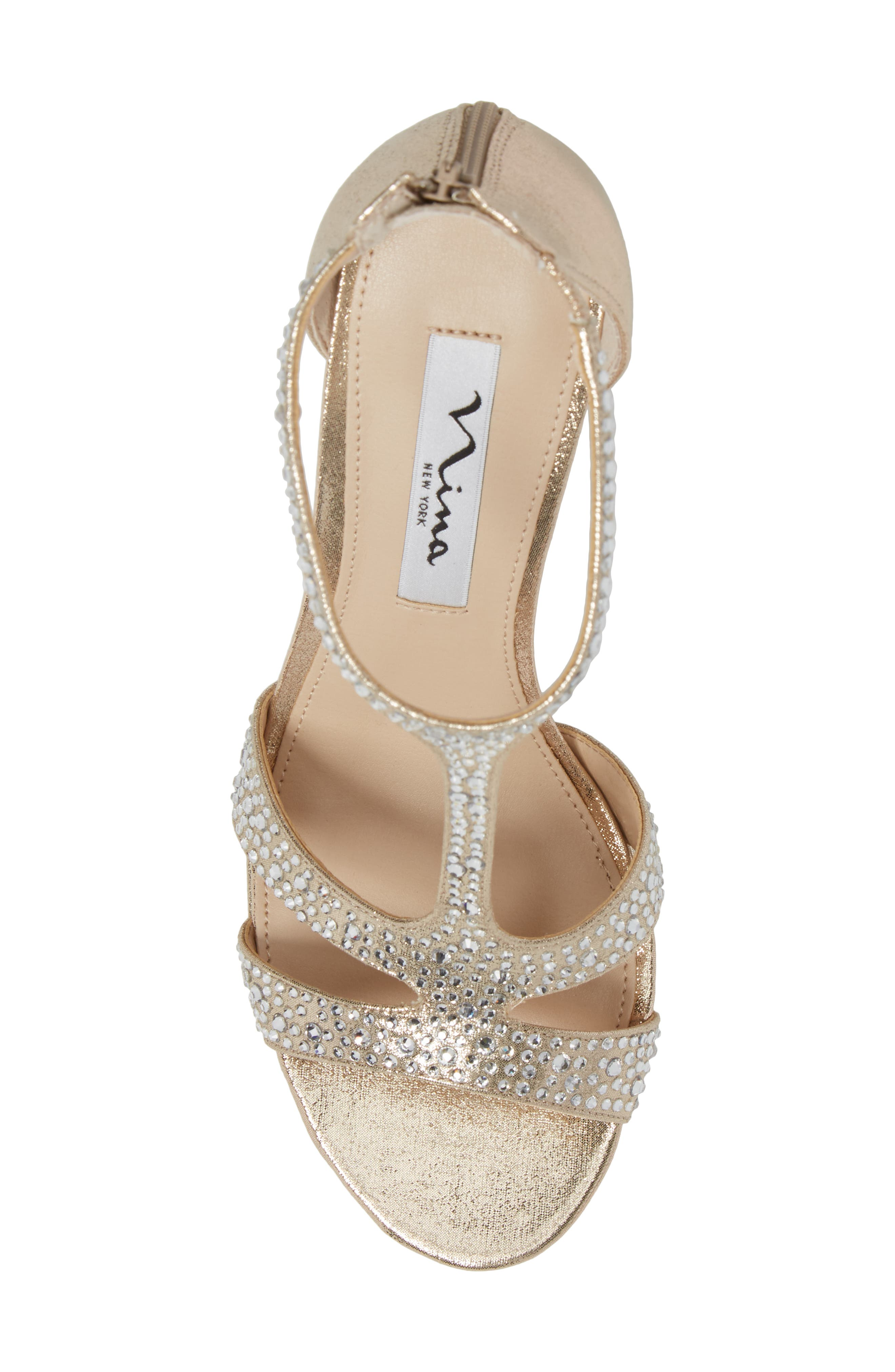 Brietta Embellished T-Strap Sandal,                             Alternate thumbnail 5, color,                             TAUPE FABRIC