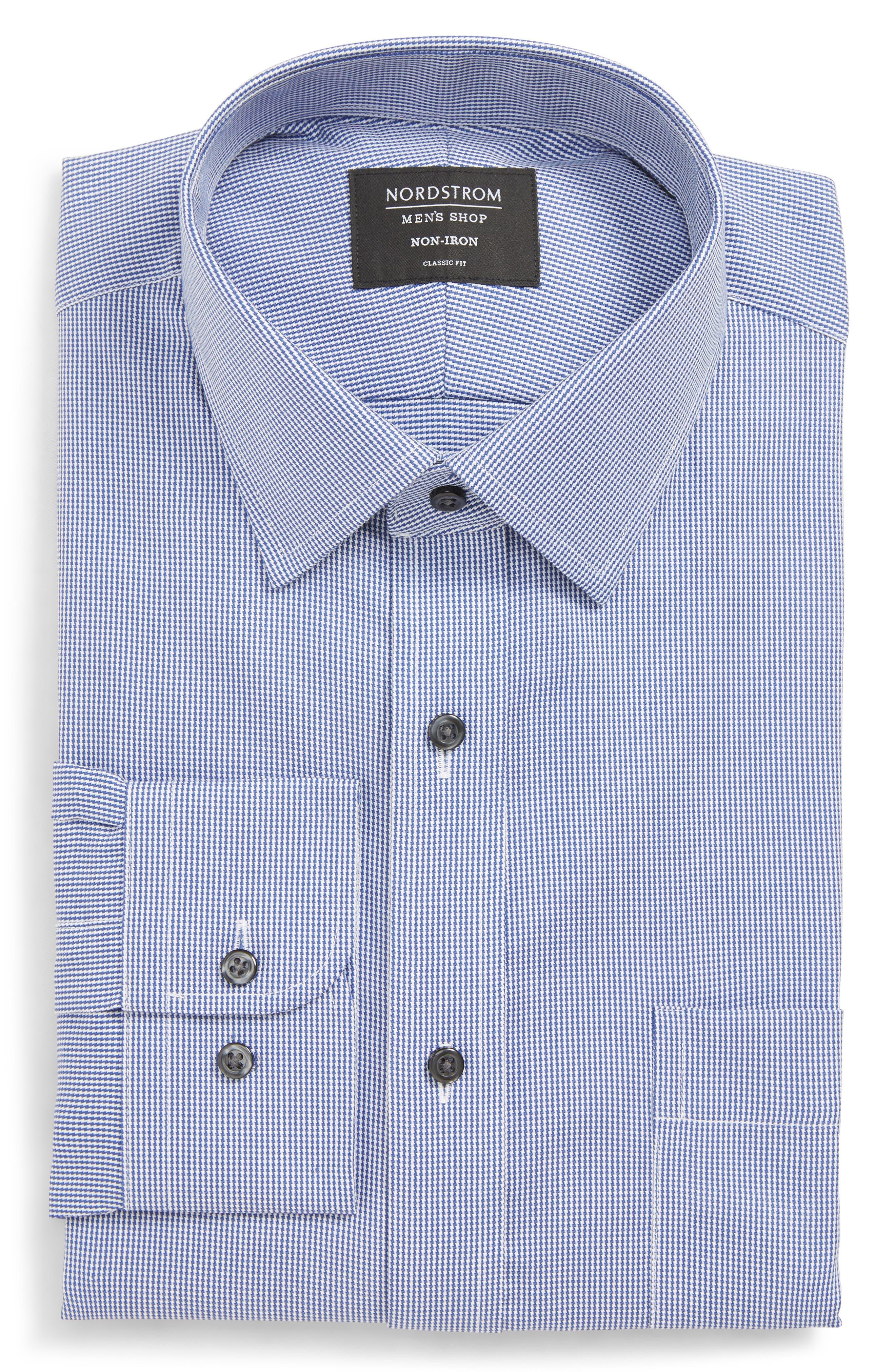 NORDSTROM MEN'S SHOP Classic Fit Non-Iron Stripe Dress Shirt, Main, color, NAVY DRESS