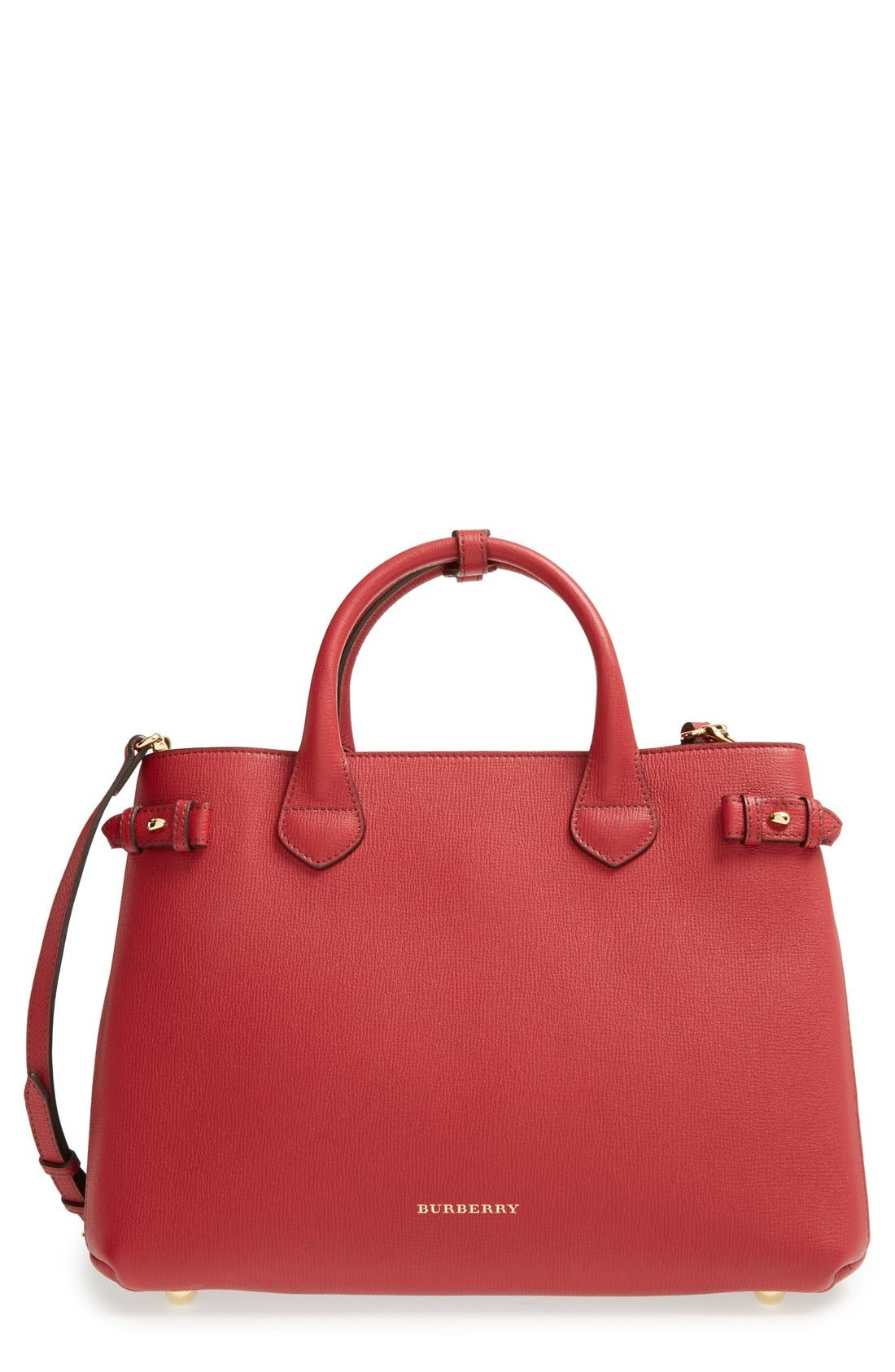 Medium Banner Leather Tote,                             Main thumbnail 1, color,                             RUSSET RED