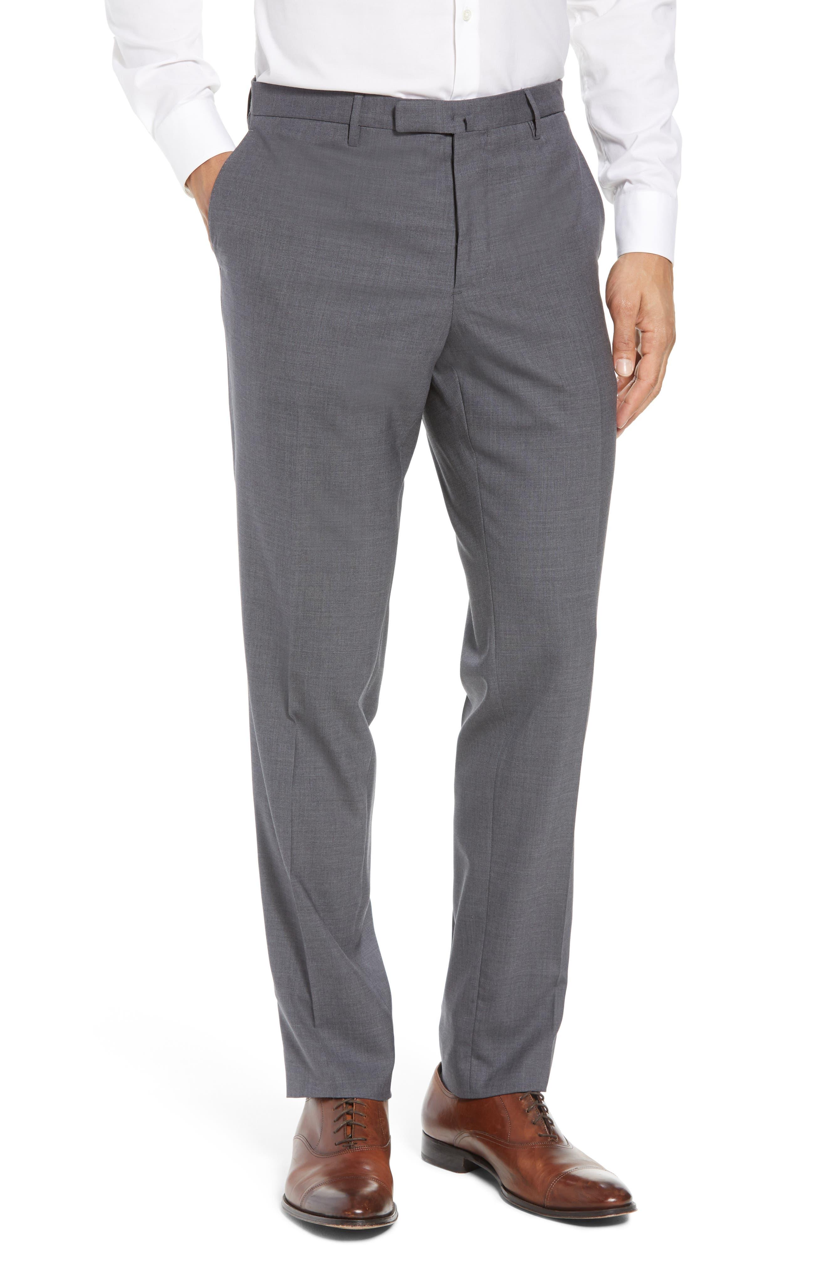 Trim Fit Solid Wool Suit,                             Alternate thumbnail 6, color,                             MEDIUM GREY
