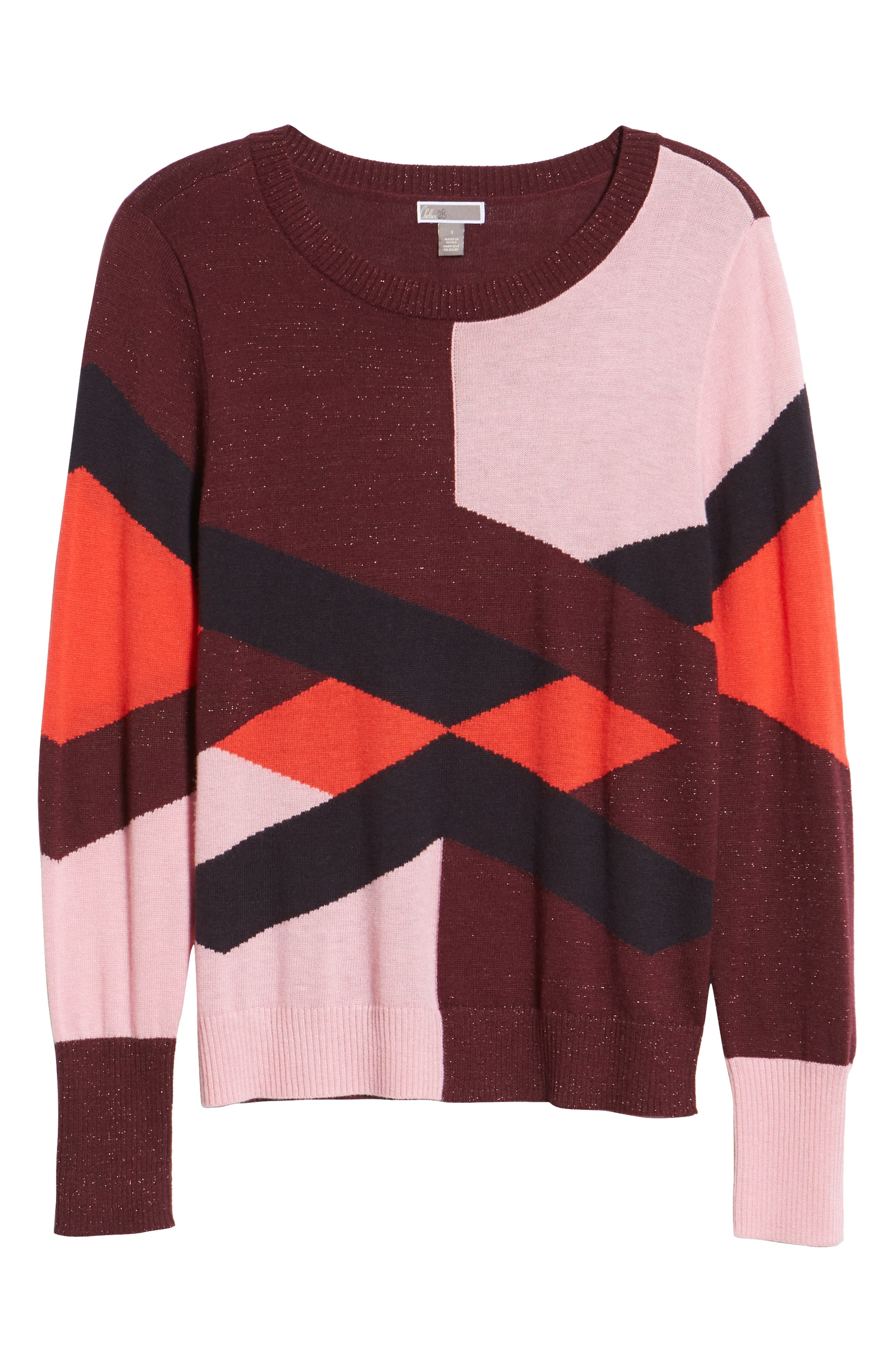 Intarsia Sweater,                             Alternate thumbnail 6, color,                             PINK STORM GRAPHIC INTARSIA