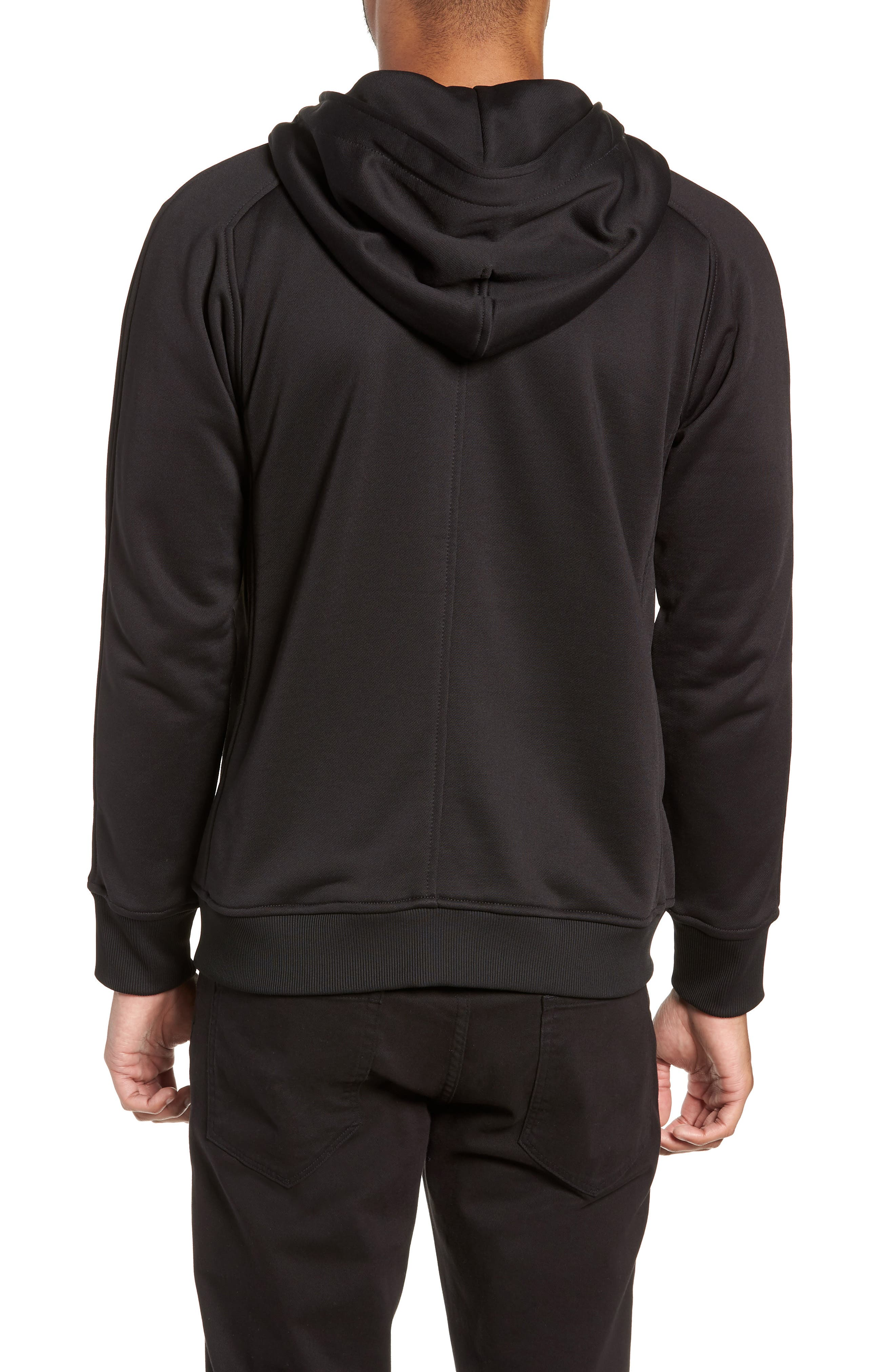 The Lux Trim Fit Full Zip Hoodie,                             Alternate thumbnail 2, color,                             BLACK