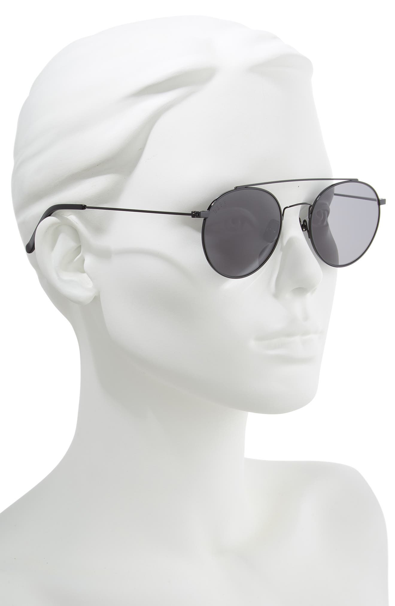x Jessie James Decker Skye 52mm Polarized Round Sunglasses,                             Alternate thumbnail 2, color,                             BLACK/ GREY