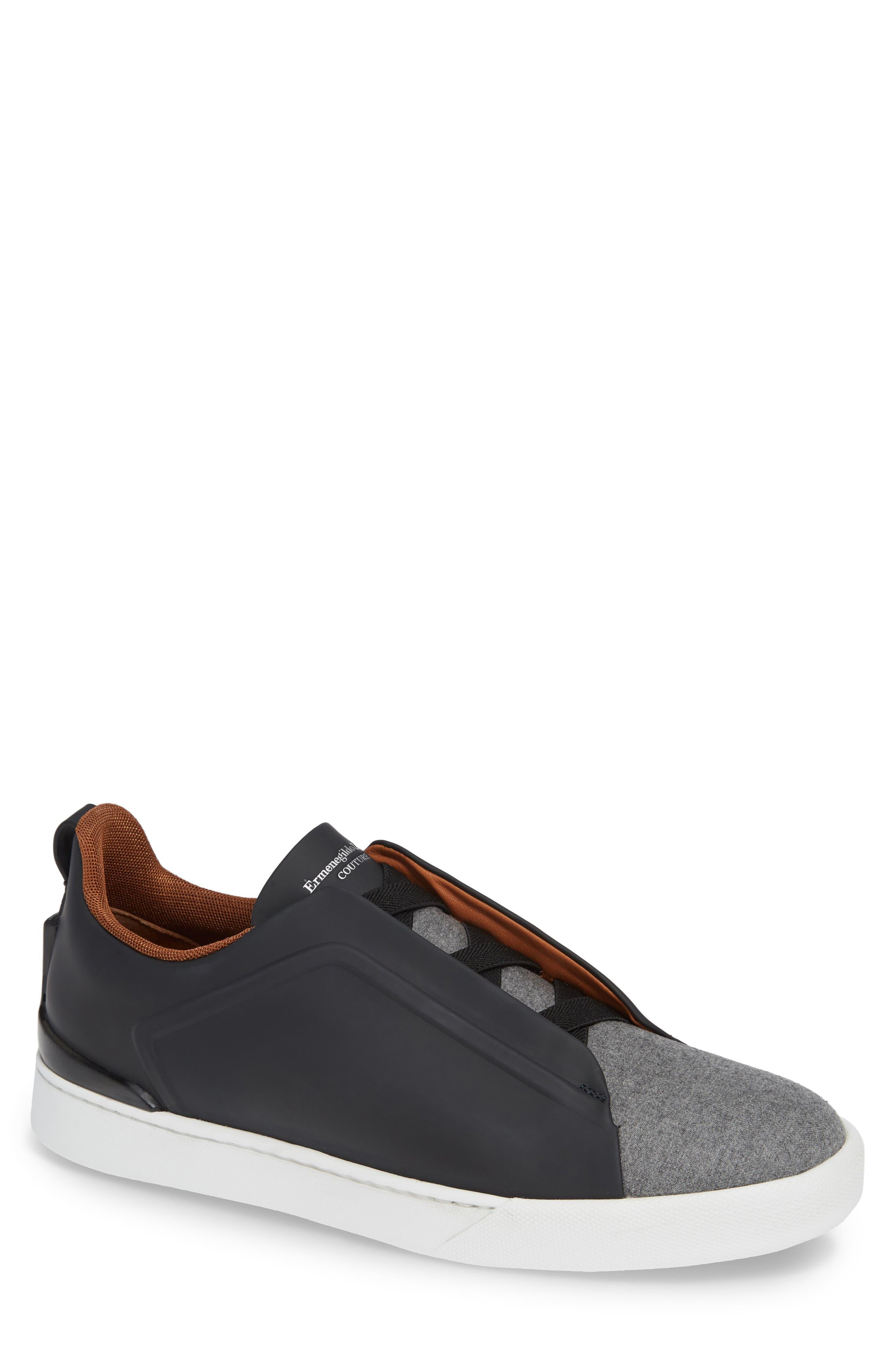 ERMENEGILDO ZEGNA Men'S Triple-Stitch Leather/Wool Low-Top Sneakers in Navy/ Grey