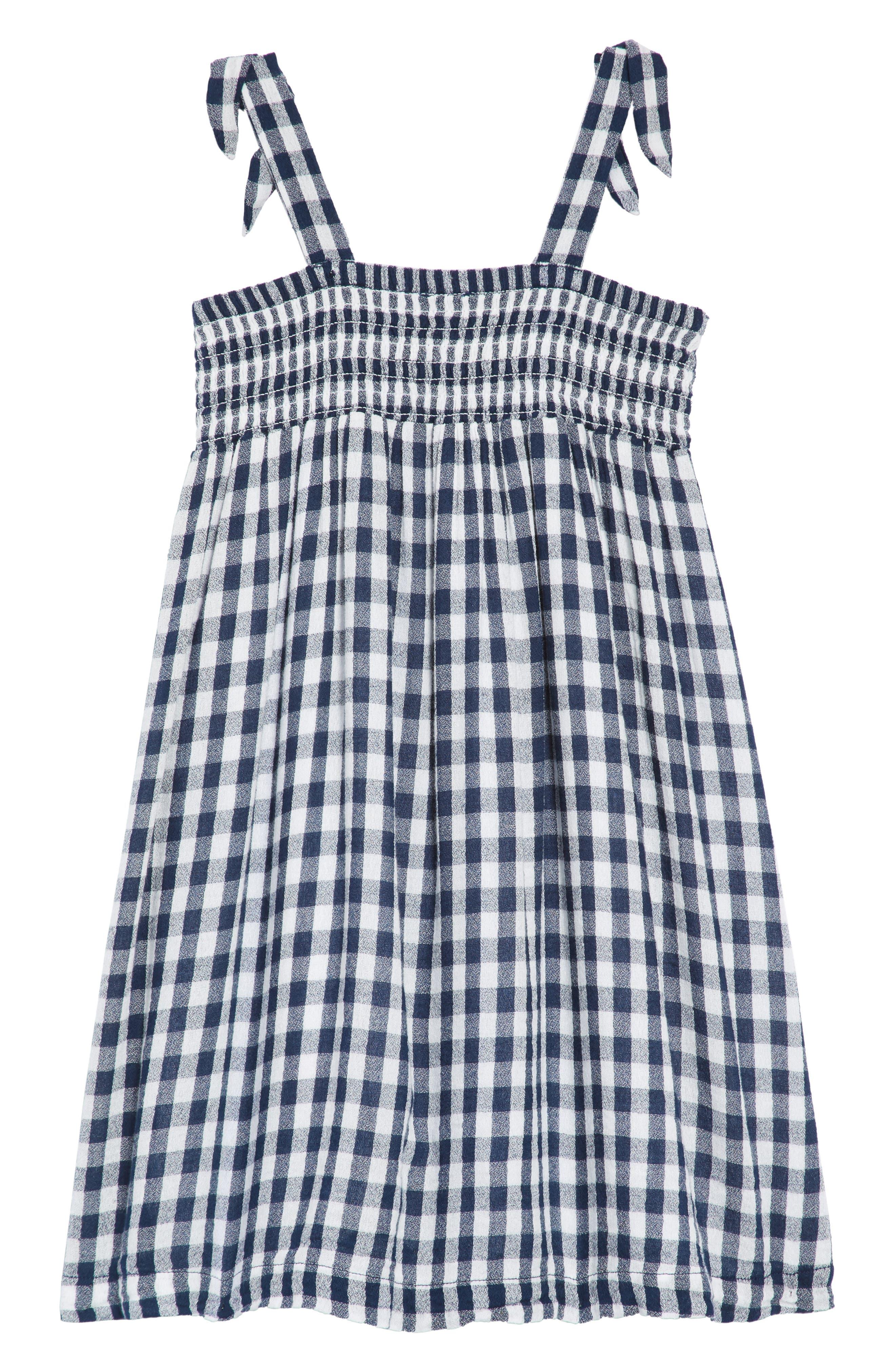 TUCKER + TATE,                             Smocked Gingham Dress,                             Alternate thumbnail 2, color,                             410