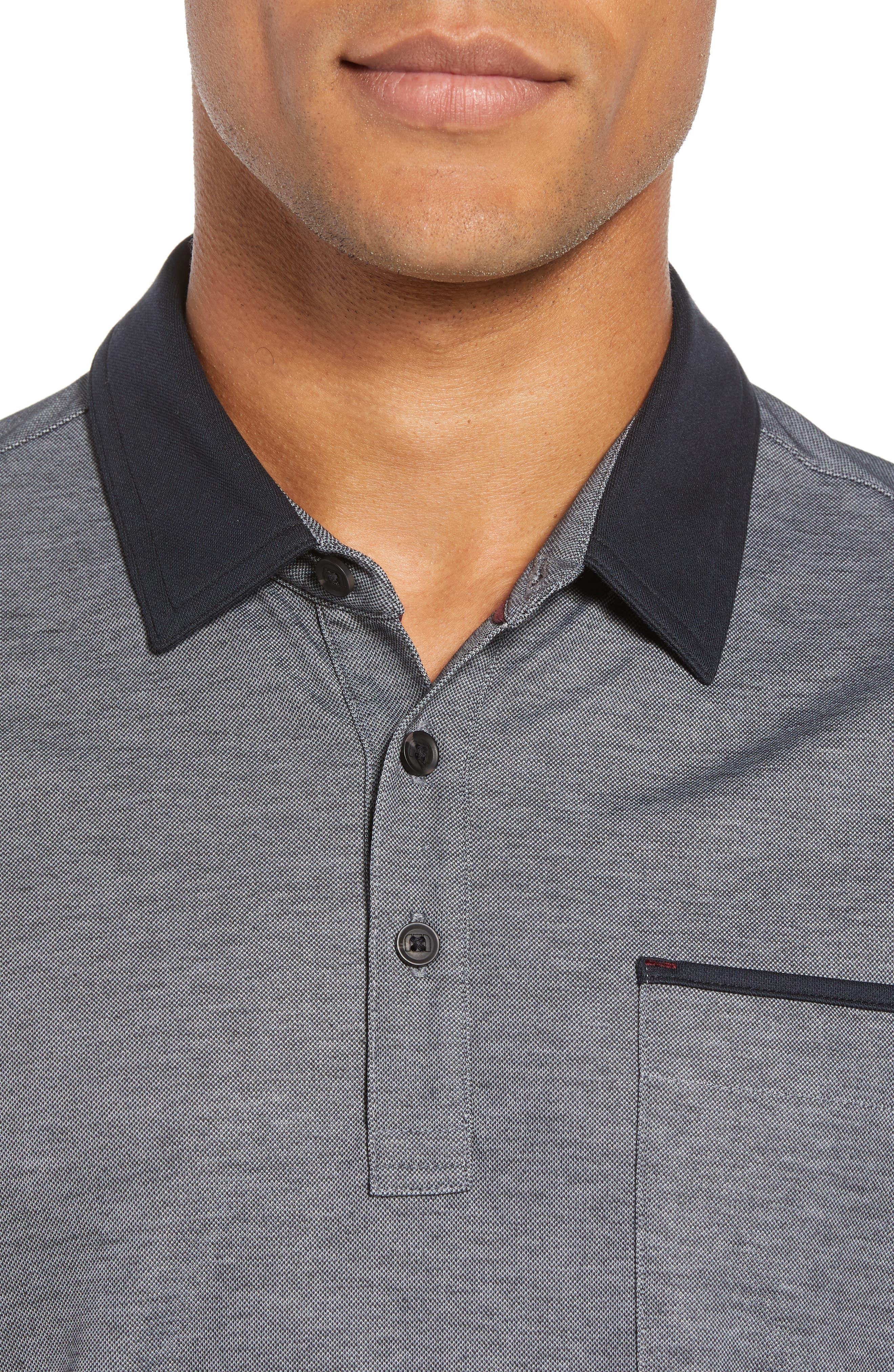 Kay Regular Fit Long Sleeve Polo Shirt,                             Alternate thumbnail 4, color,                             HEATHER CASTLEROCK