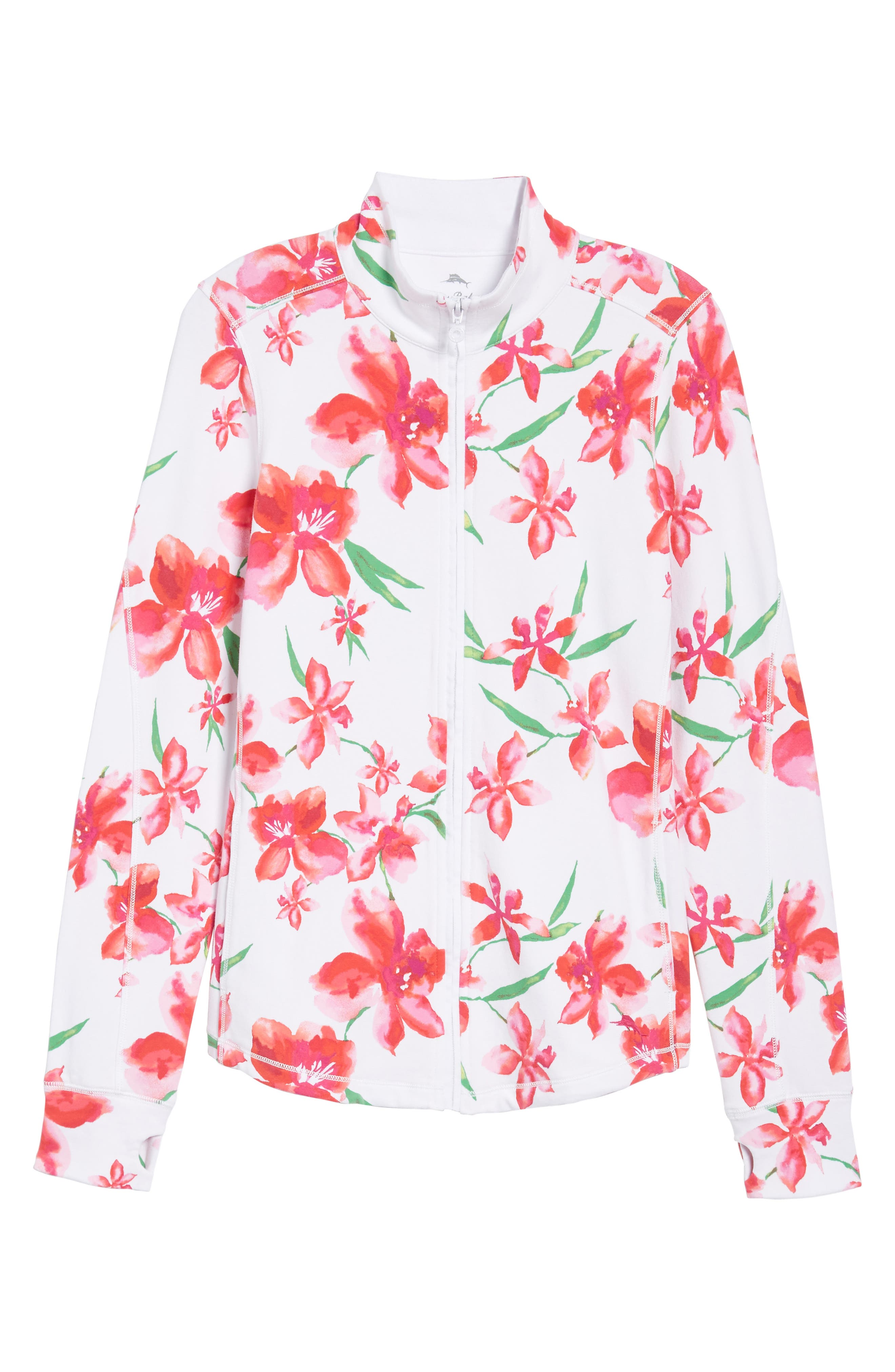 Floral Fade Stretch Cotton Zip Jacket,                             Alternate thumbnail 6, color,                             WHITE
