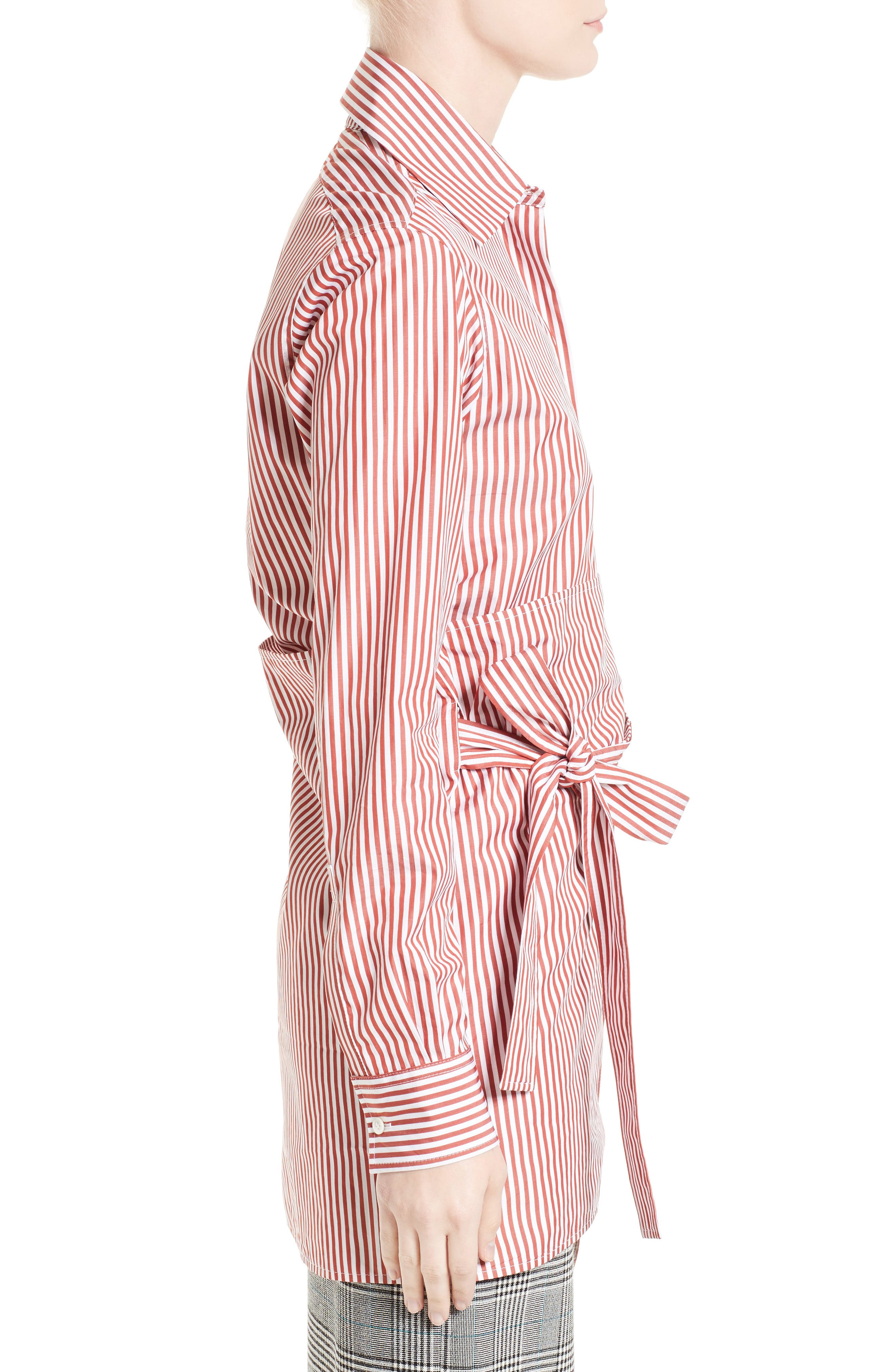 Stripe Wrap Tie Shirt,                             Alternate thumbnail 3, color,