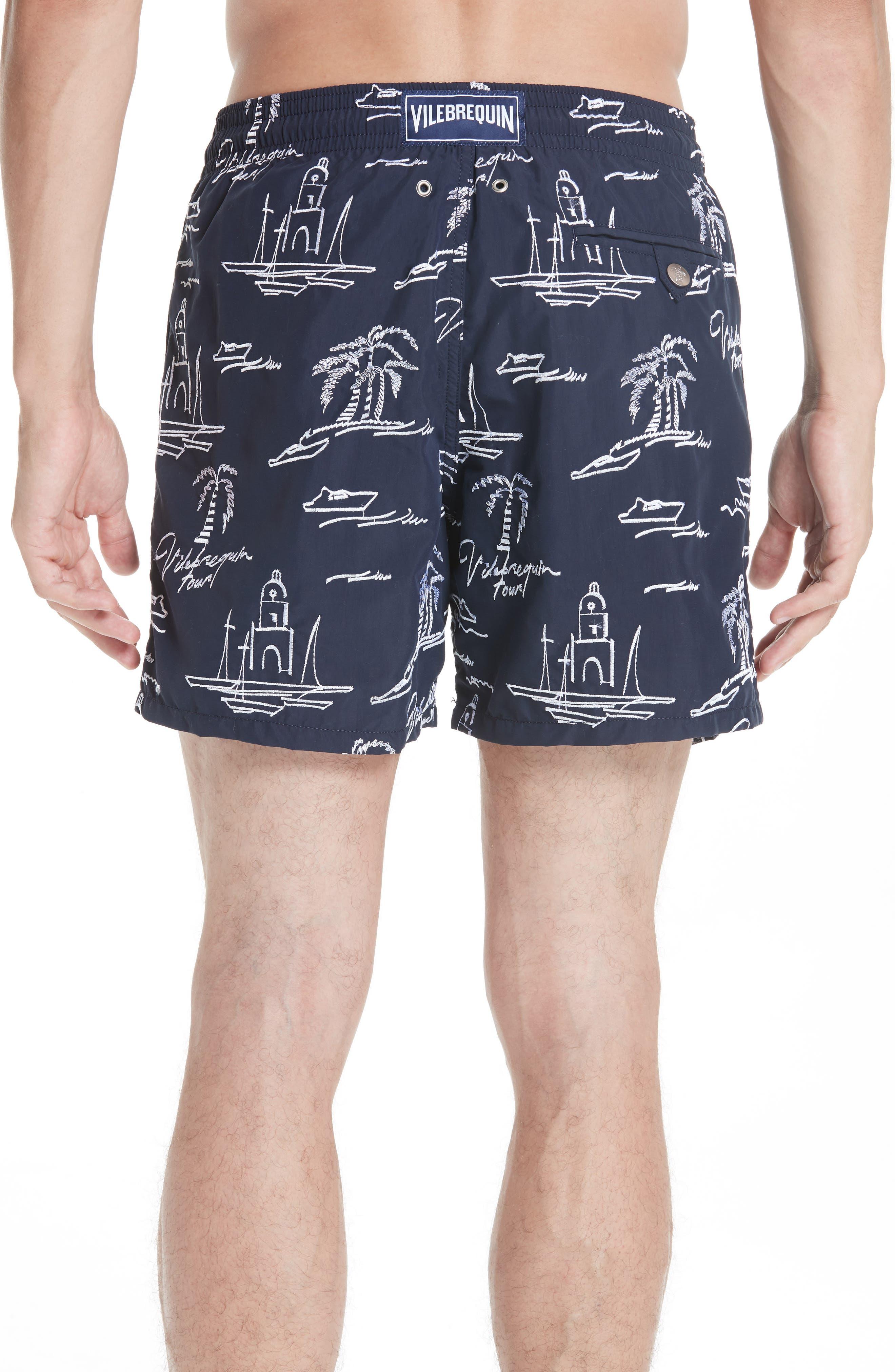 St. Tropez Embroidered Swim Trunks,                             Alternate thumbnail 2, color,                             BLUE