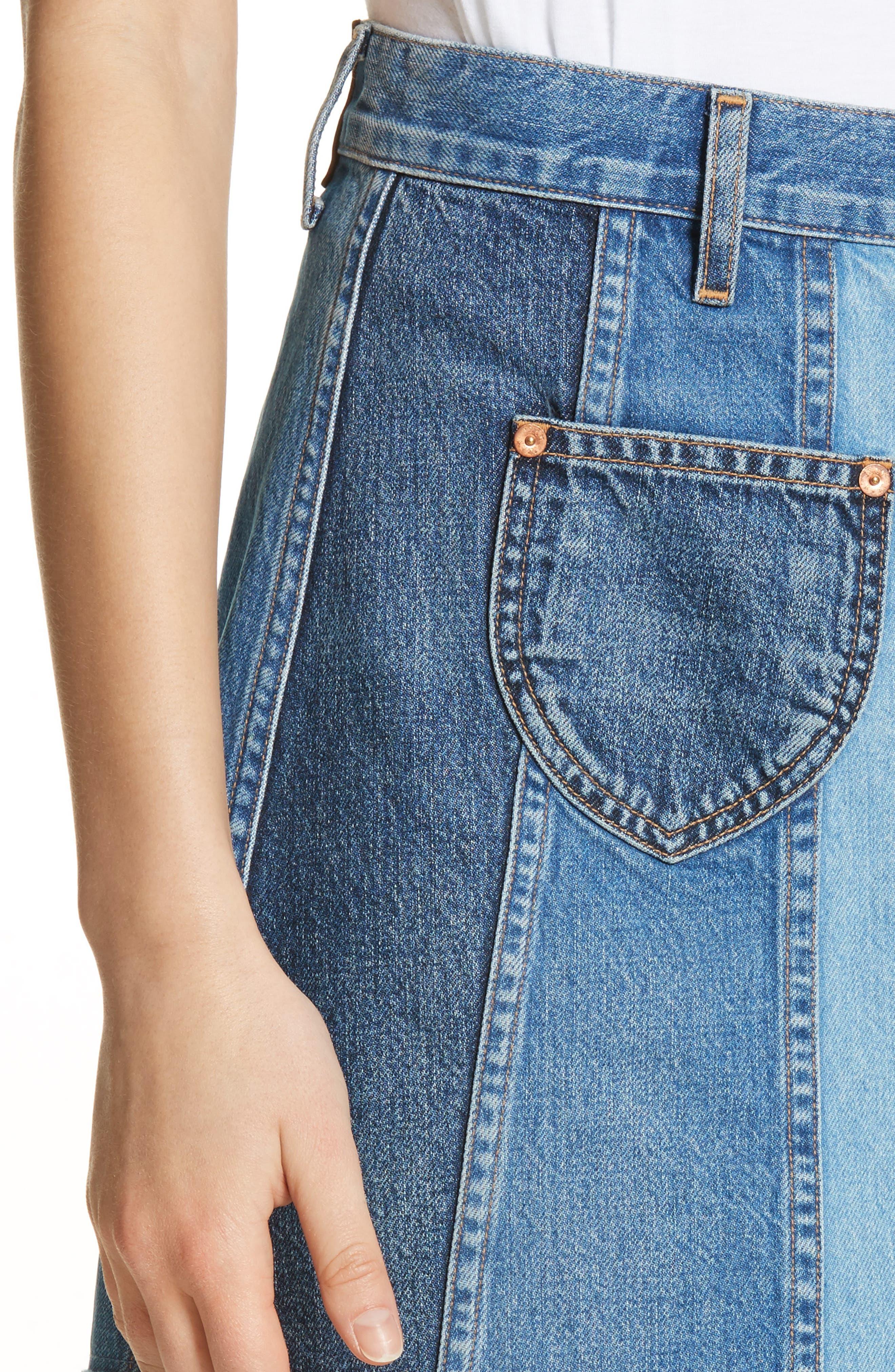 Eloise High Rise Denim Miniskirt,                             Alternate thumbnail 4, color,                             424