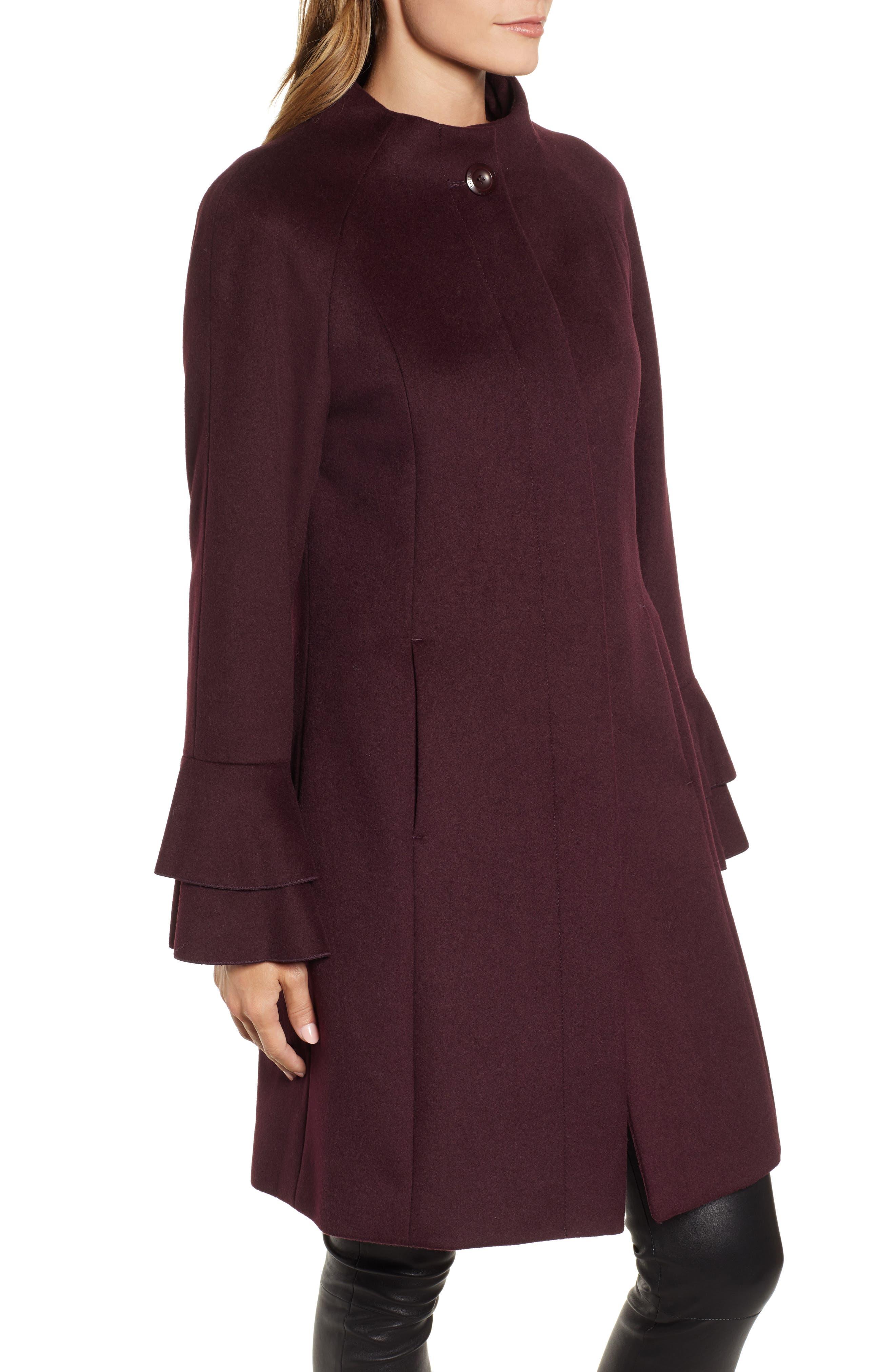 Sara Ruffle Cuff Wool Blend Coat,                             Alternate thumbnail 3, color,                             WINE