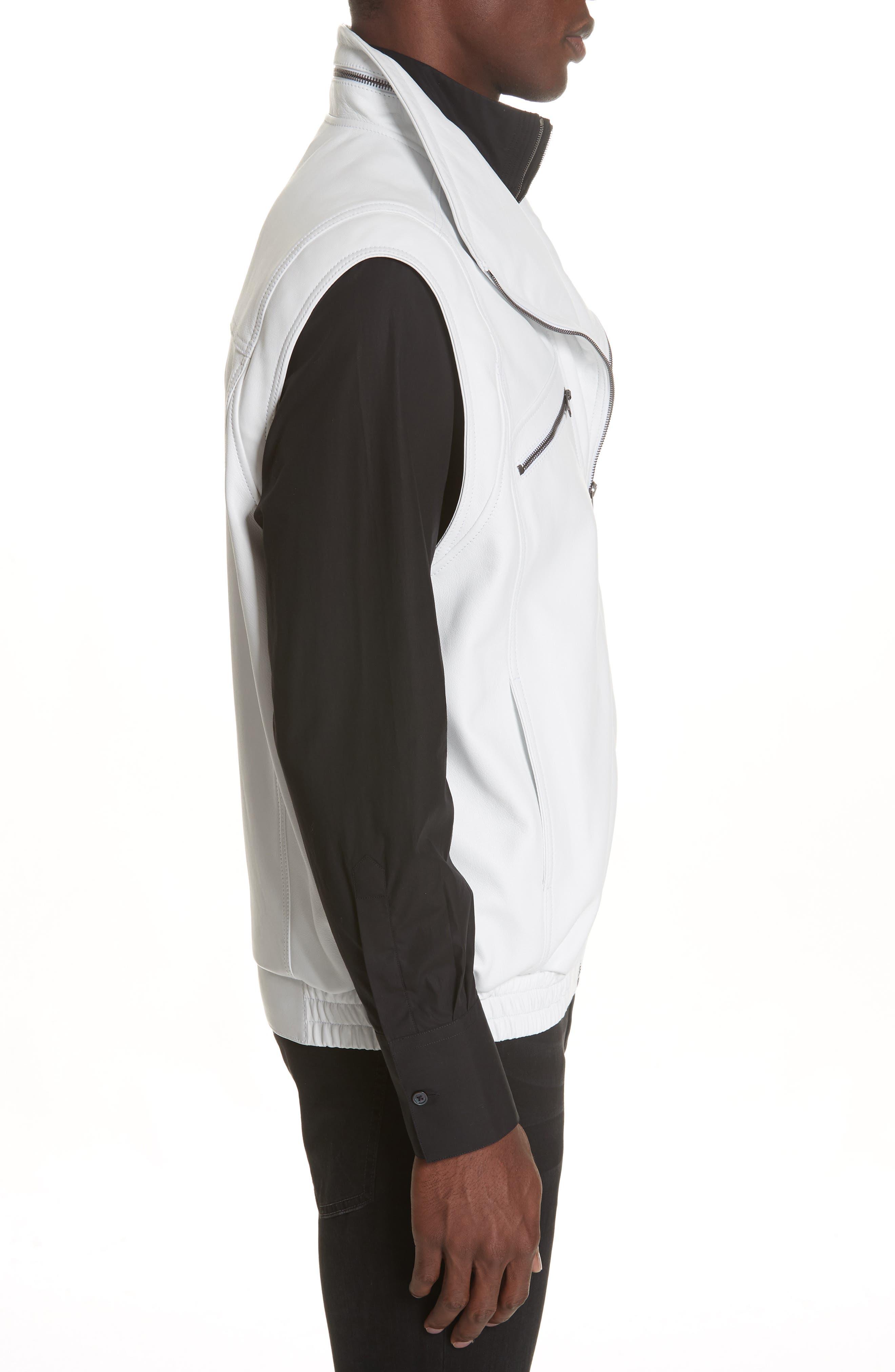 Sleeveless Zip Leather Vest,                             Alternate thumbnail 3, color,                             WHITE