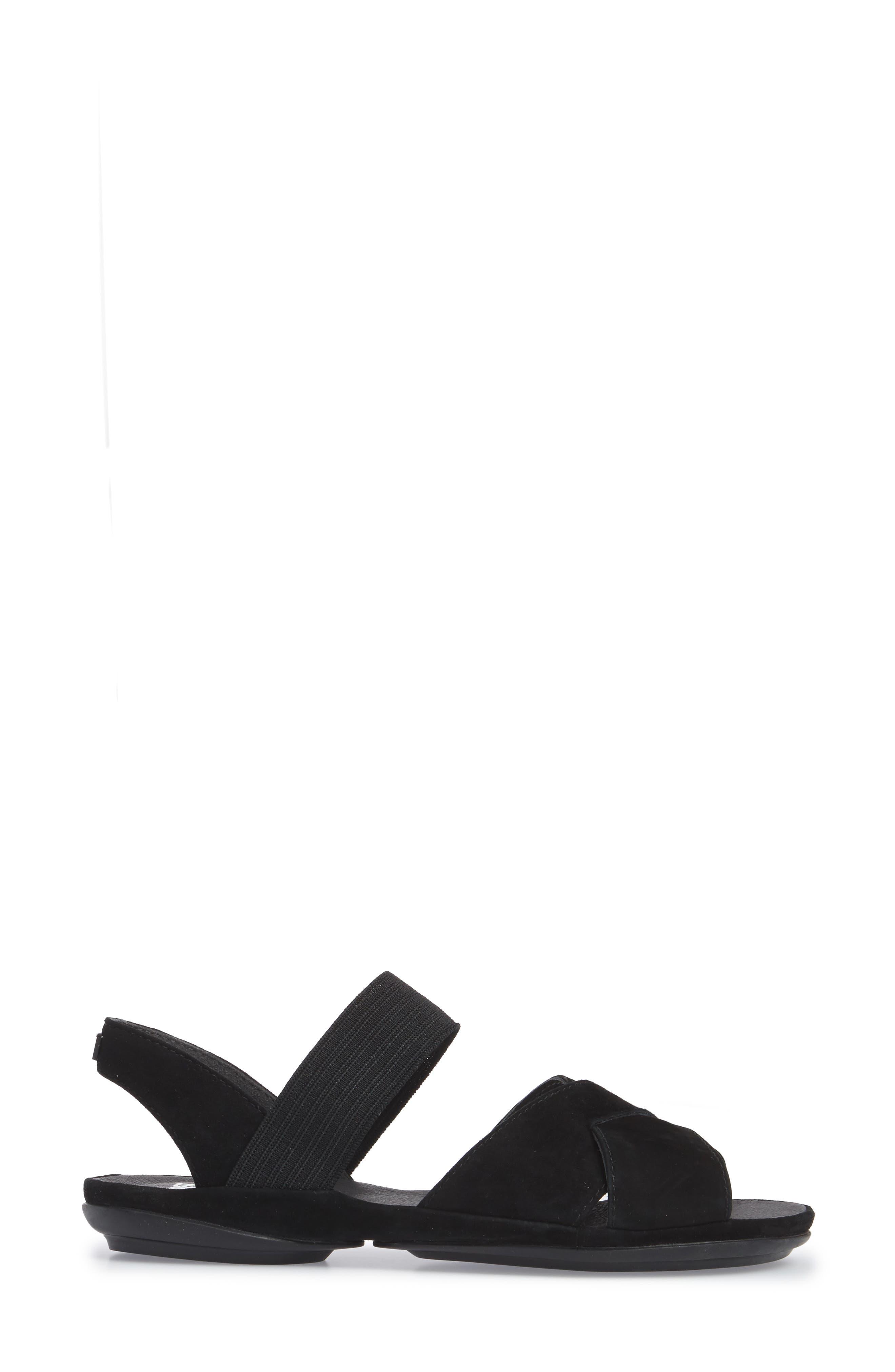 Right Nina Flat Cross Strap Sandal,                             Alternate thumbnail 3, color,                             BLACK LEATHER