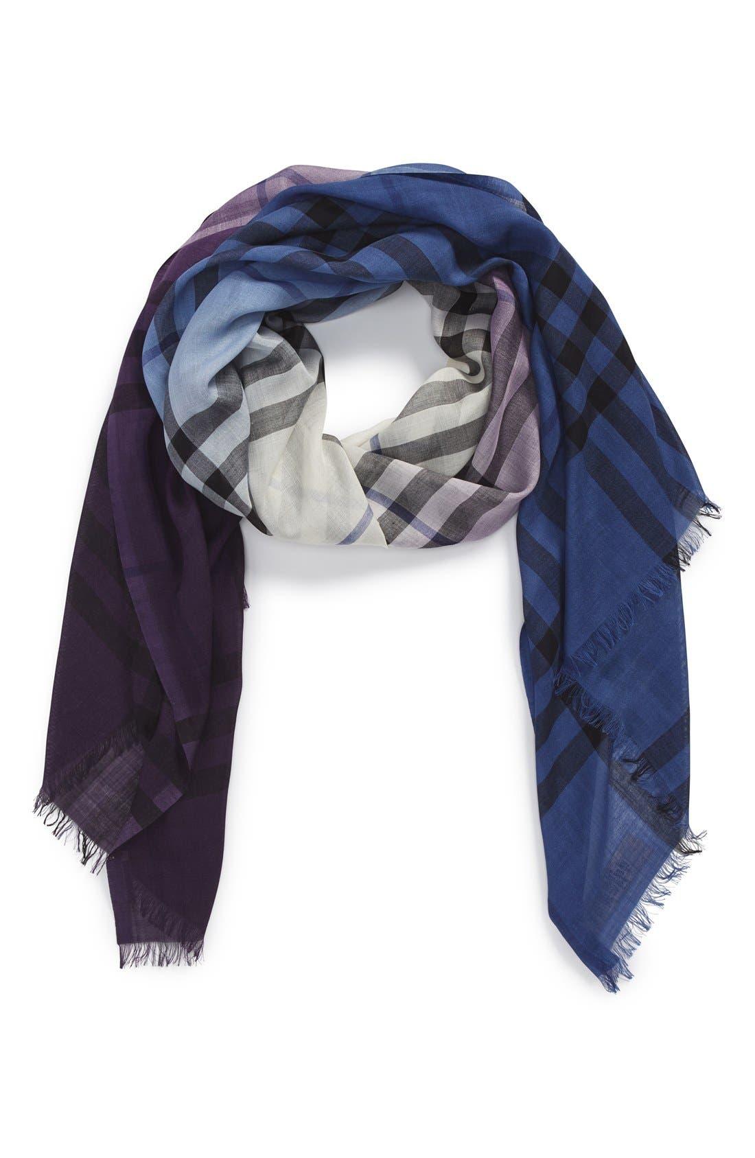 Ombré Check Wool & Silk Scarf,                             Alternate thumbnail 6, color,