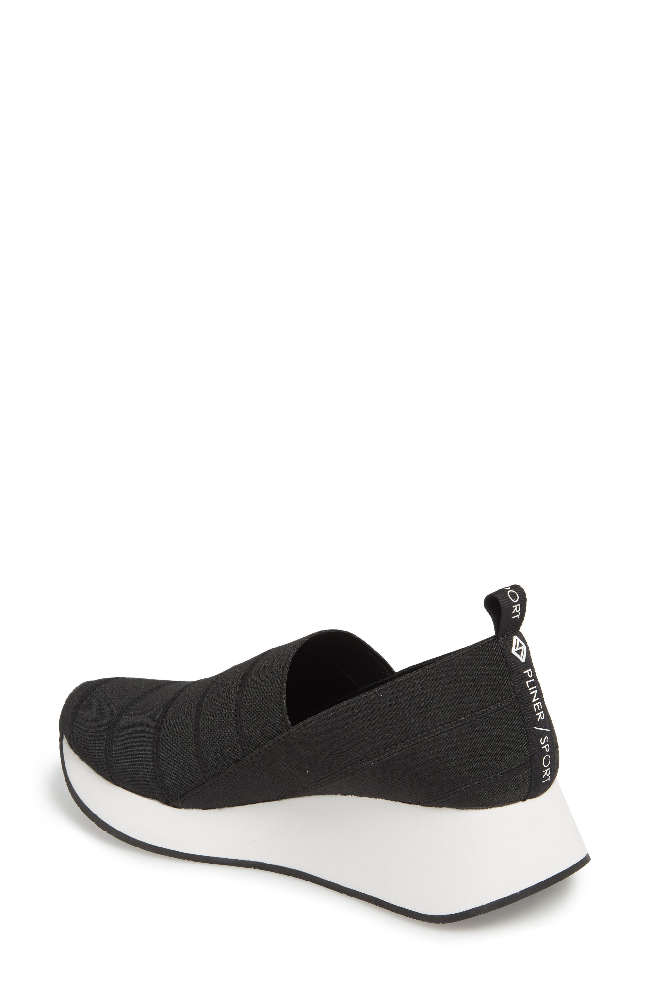 Piper Platform Slip-On Sneaker,                             Alternate thumbnail 2, color,                             BLACK STRETCH FABRIC