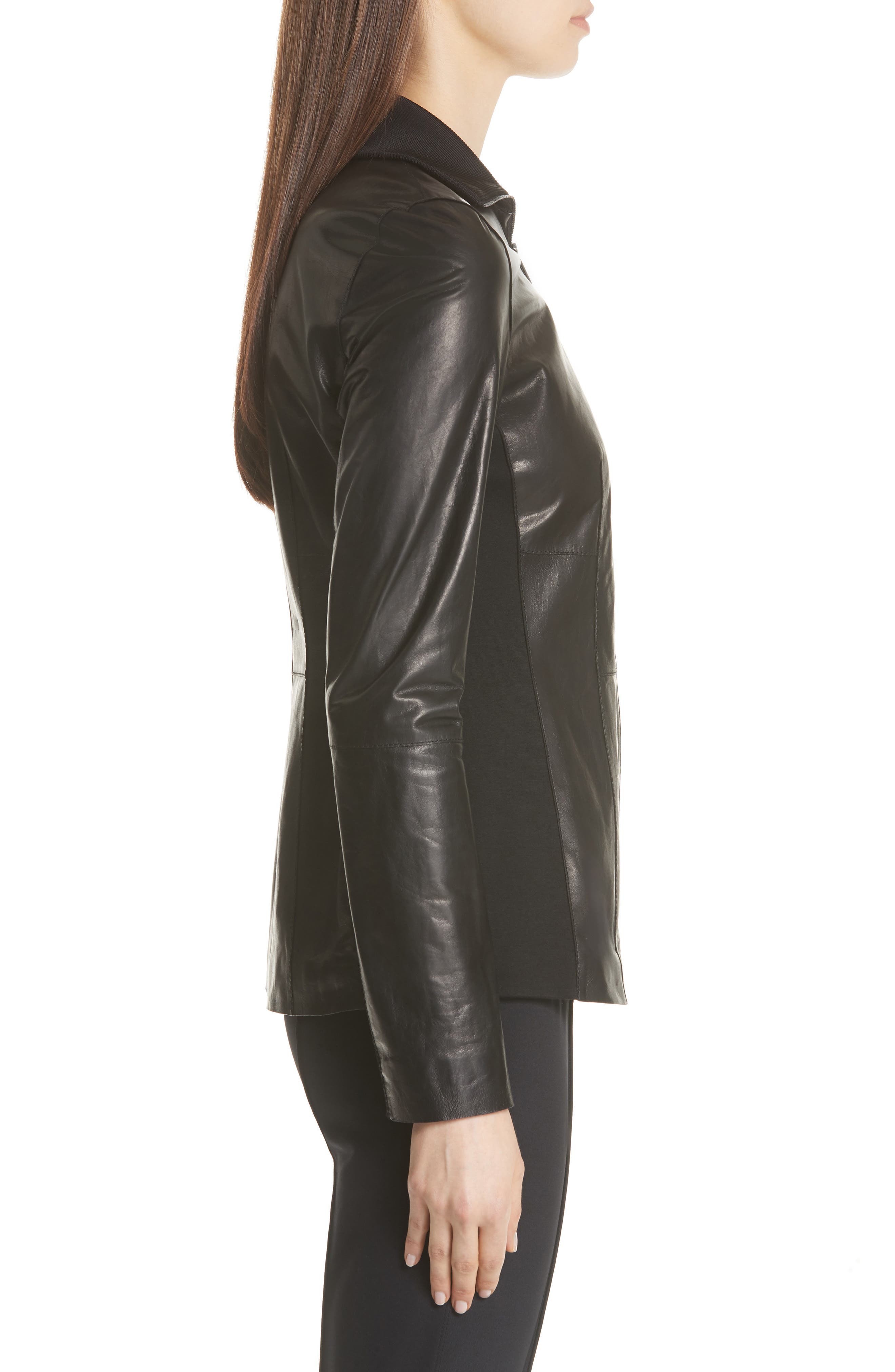 Ponte Panel Leather Jacket,                             Alternate thumbnail 3, color,                             001
