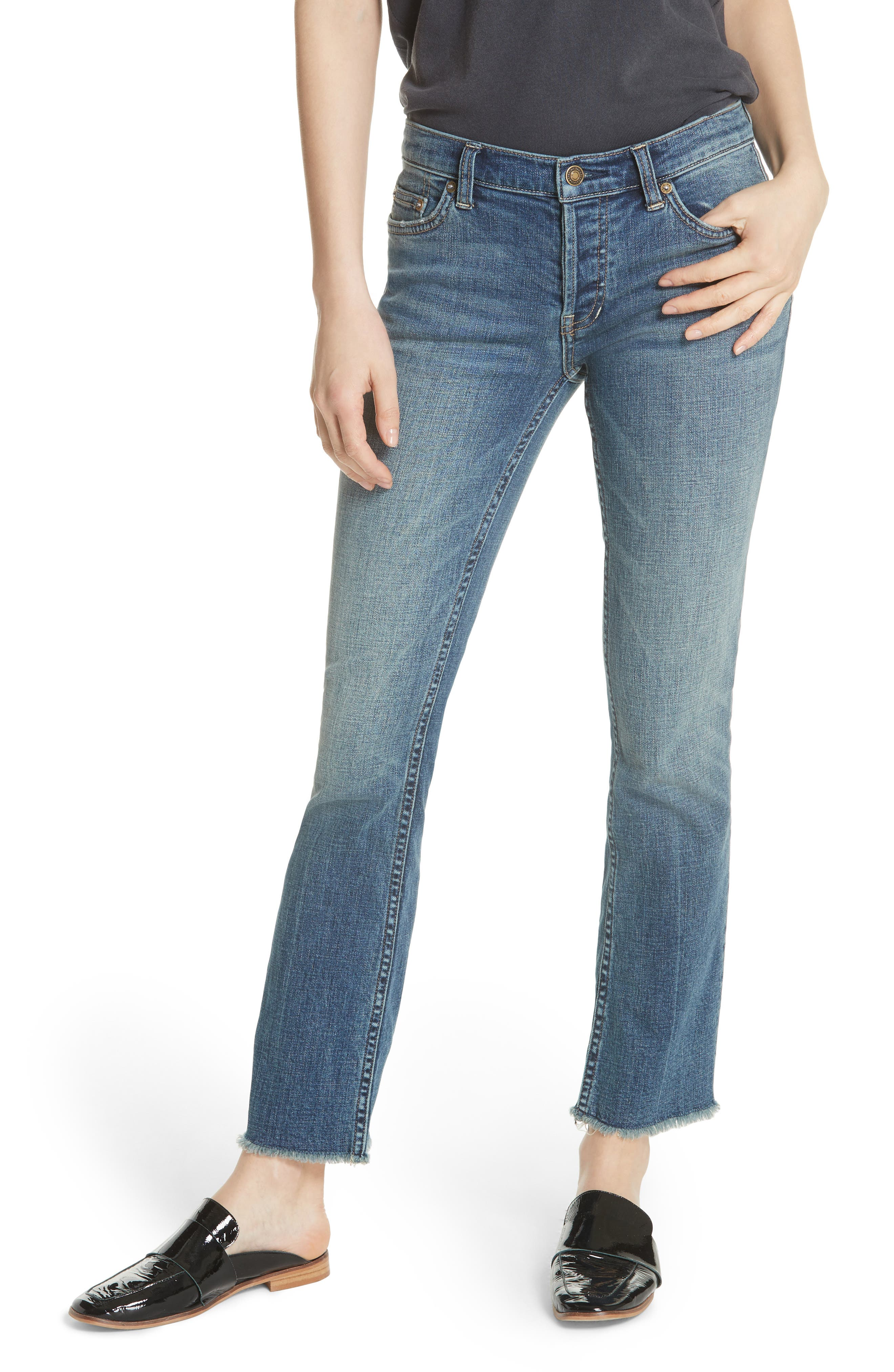 We the Free by Free People Austin Raw Hem Ankle Jeans,                         Main,                         color, BLUE