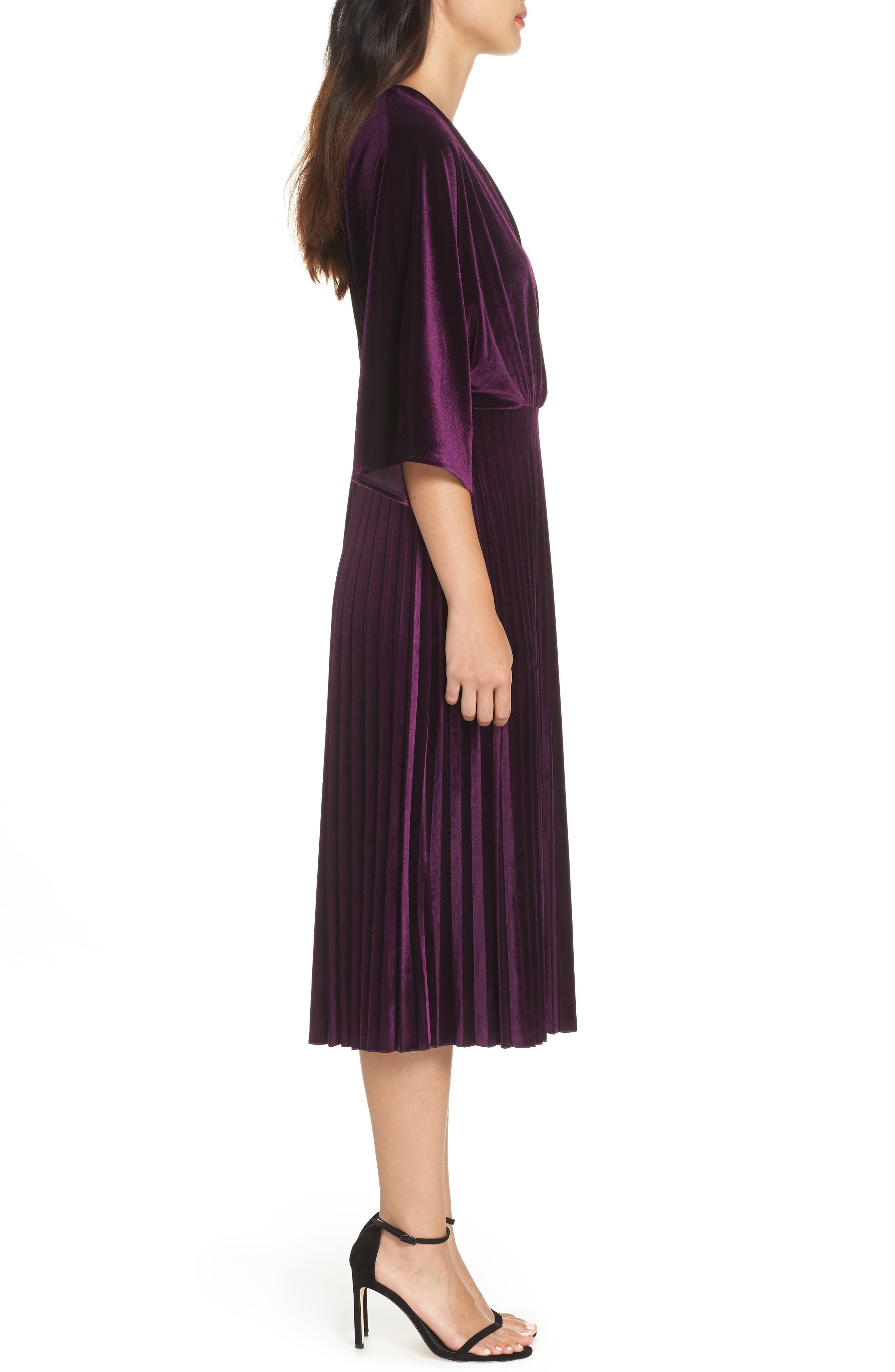 Kimono Pleated Dress,                             Alternate thumbnail 3, color,                             506