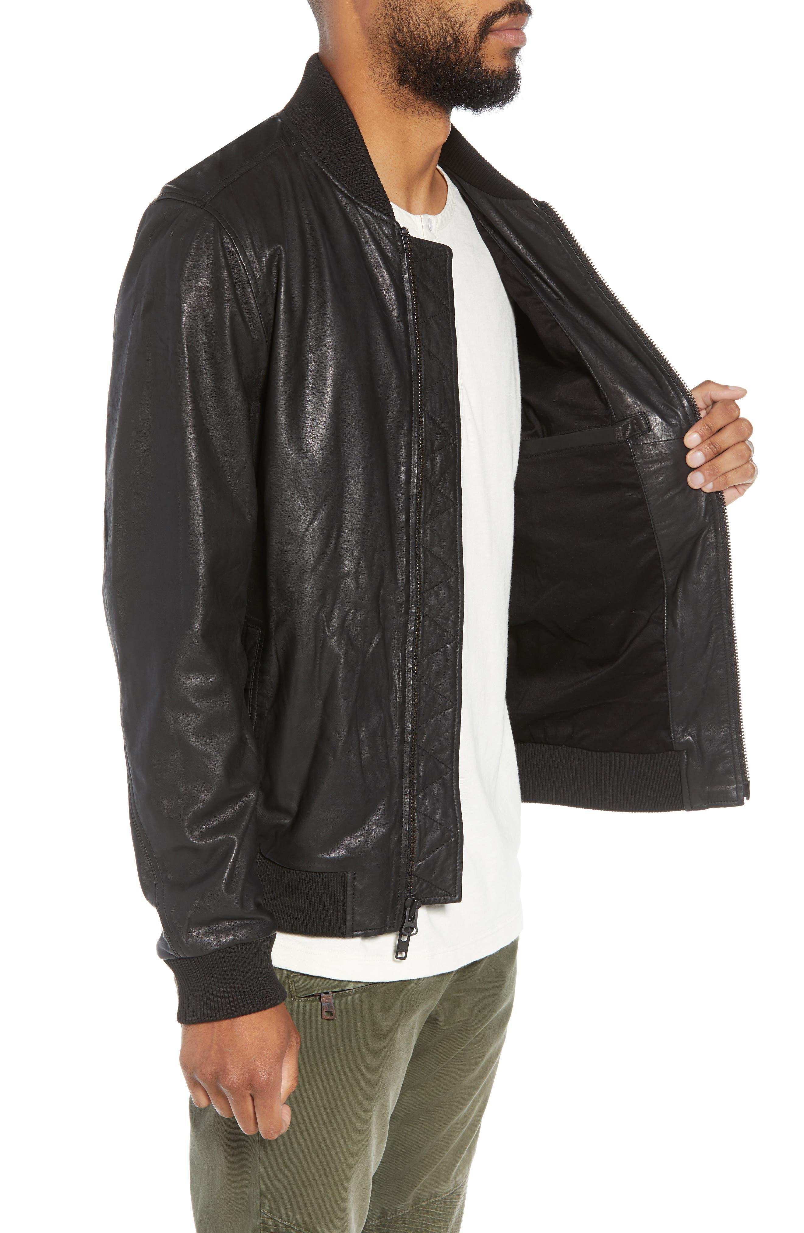 Hudson Leather Bomber Jacket,                             Alternate thumbnail 3, color,                             001