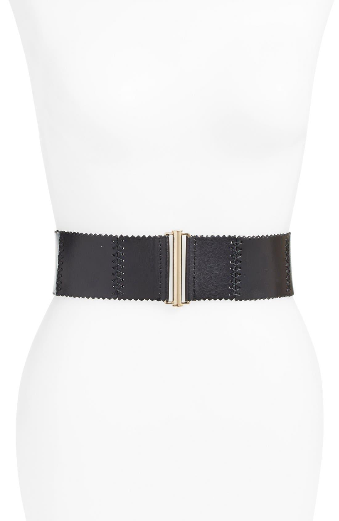 'Woodland' Stitched Leather Belt,                             Main thumbnail 1, color,                             BLACK