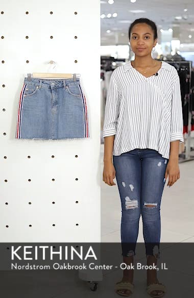 MOTO Stripe Denim Skirt, sales video thumbnail