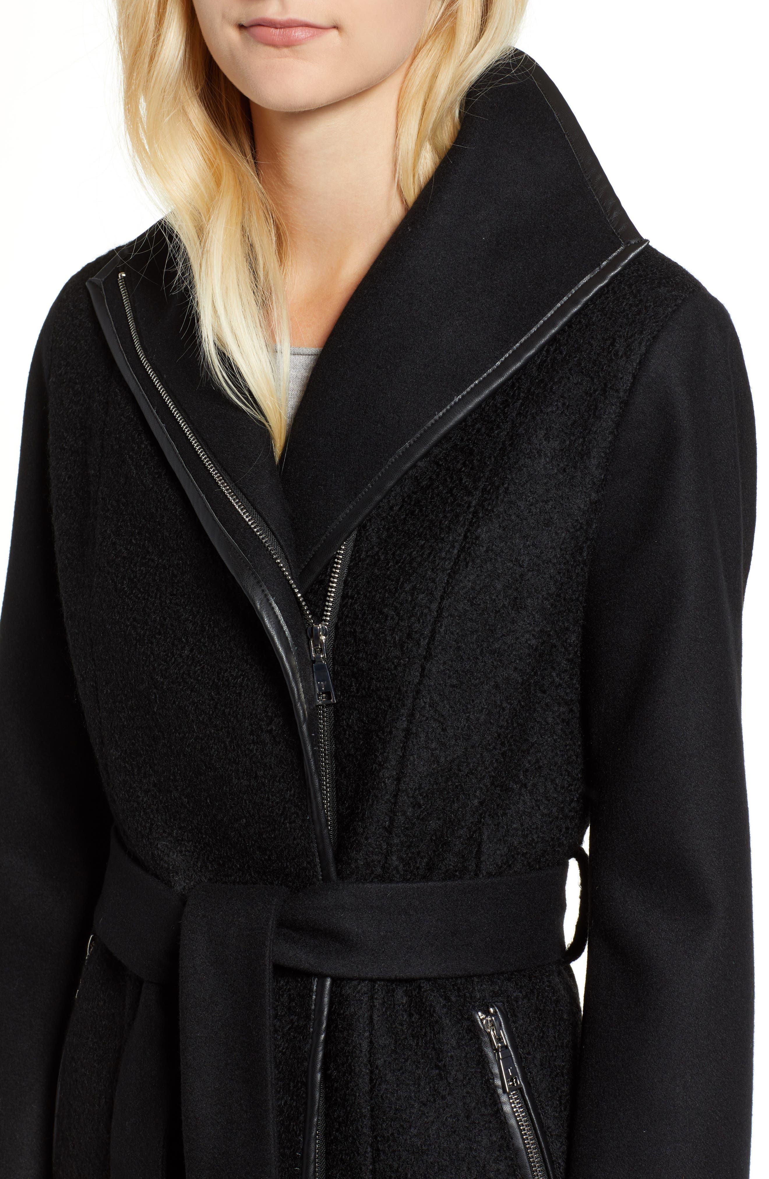 Elaine Boiled Wool Blend Coat,                             Alternate thumbnail 4, color,                             BLACK