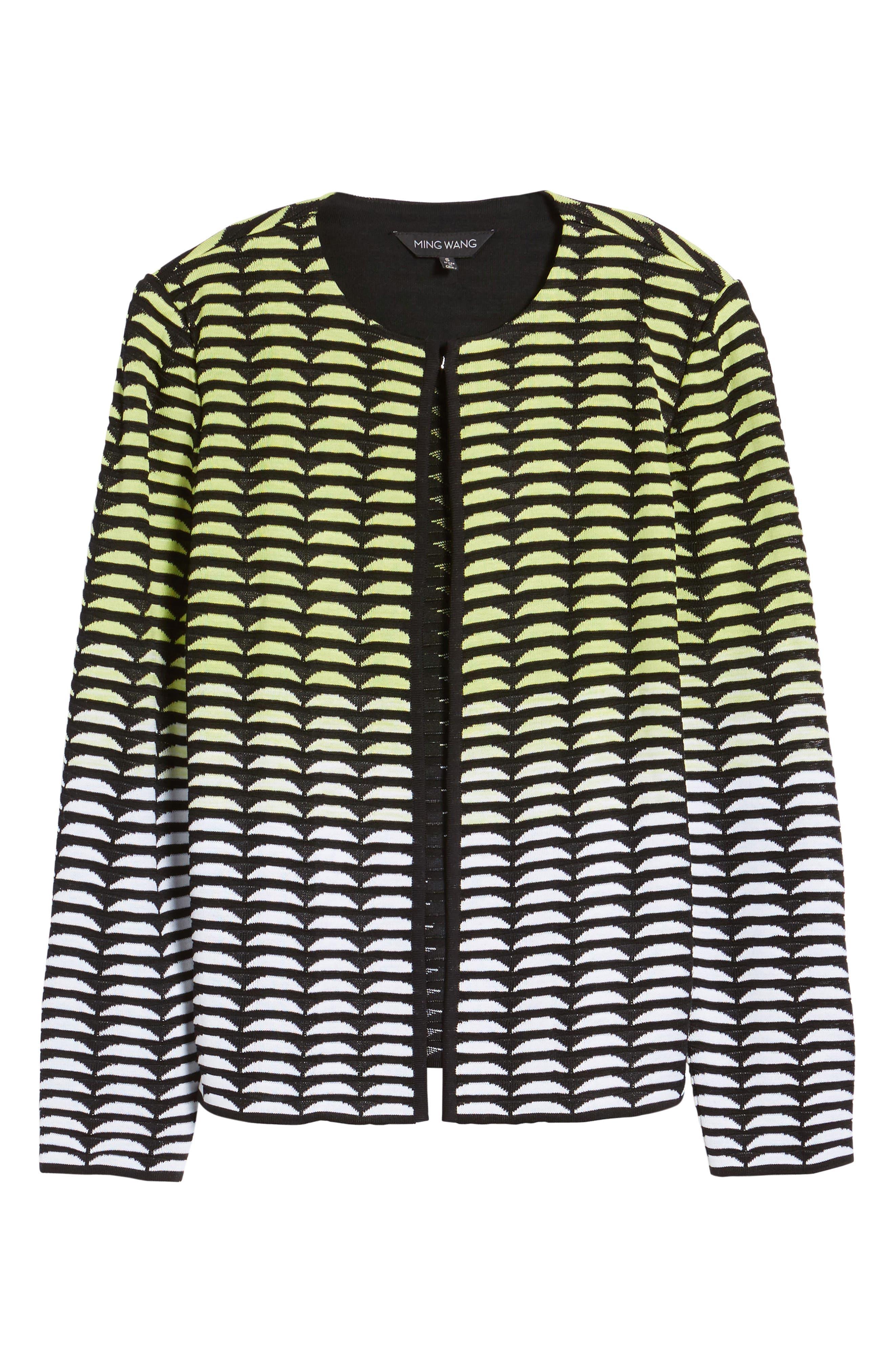 Ombré Jacquard Knit Jacket,                             Alternate thumbnail 5, color,                             727